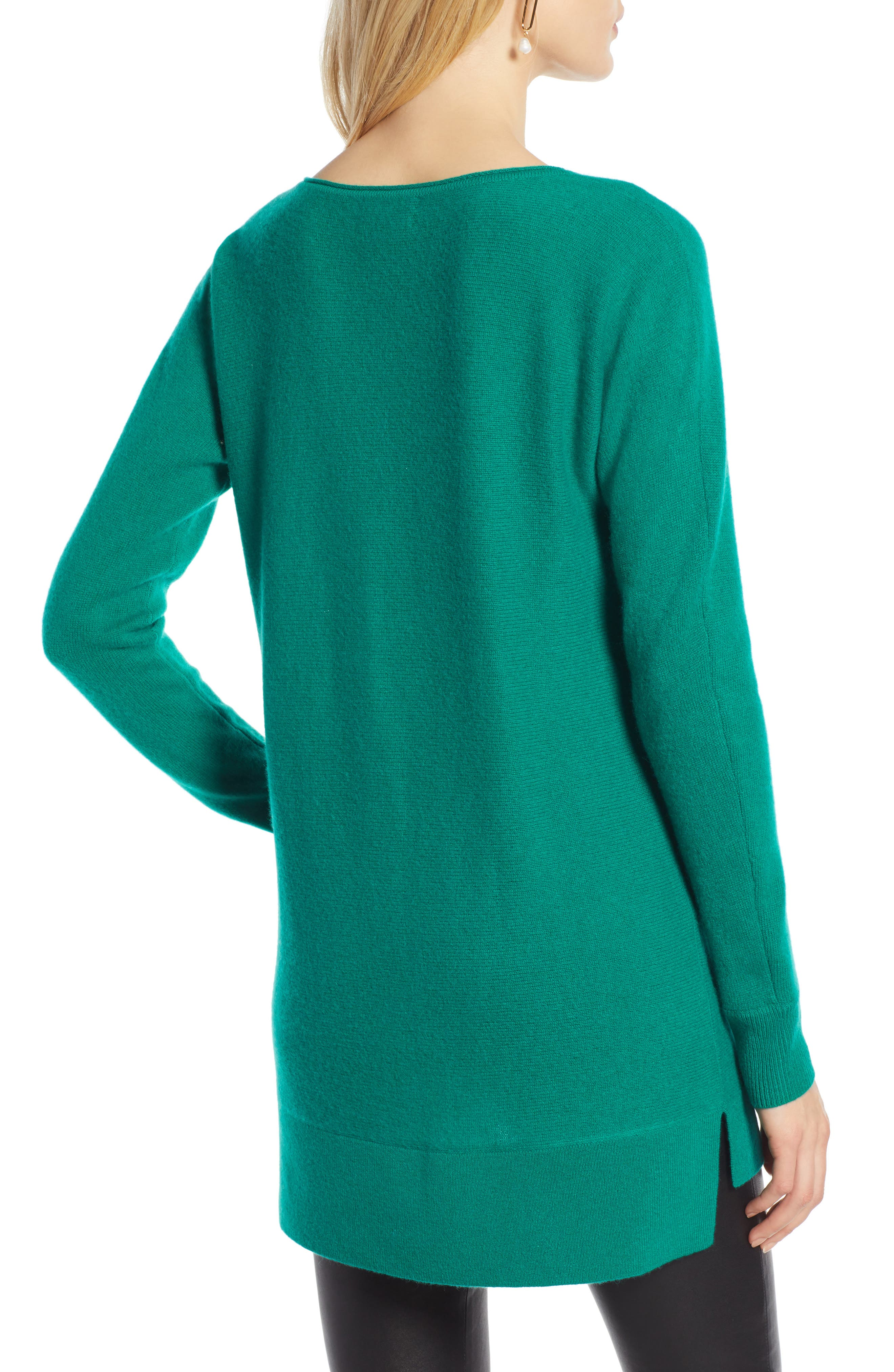 High/Low Wool & Cashmere Tunic Sweater,                             Alternate thumbnail 2, color,                             GREEN ULTRA