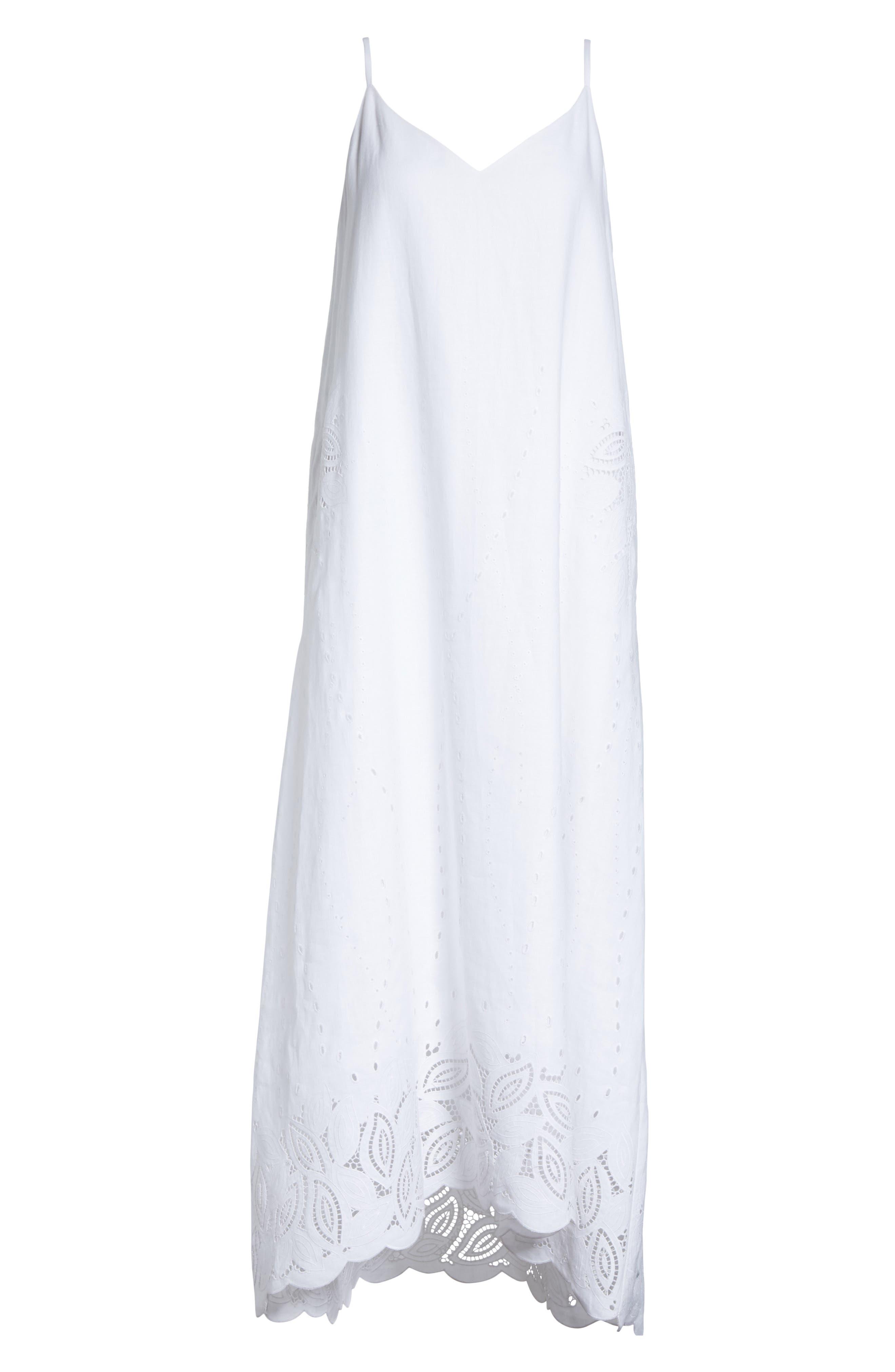 Dominique Linen Cutwork Dress,                             Alternate thumbnail 6, color,                             100