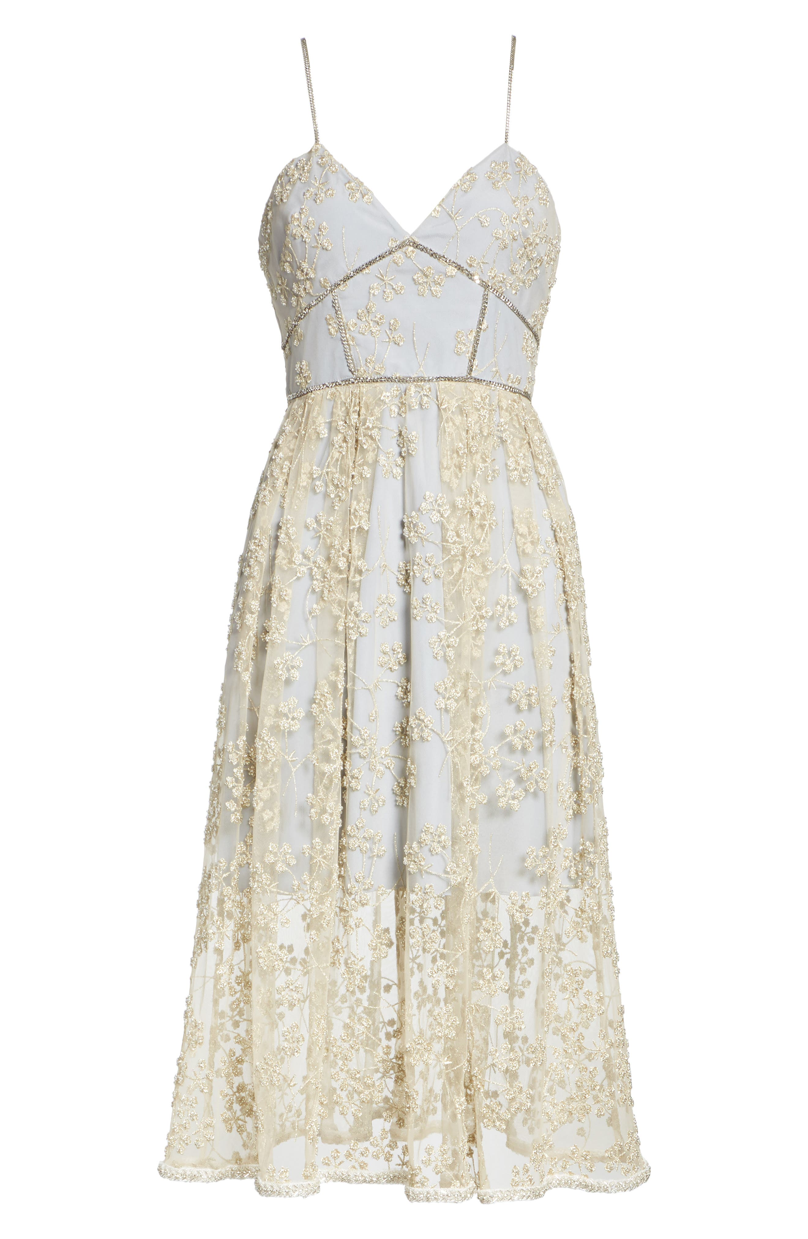 Metallic Floral Embroidery Chain Strap Dress,                             Alternate thumbnail 6, color,                             GOLD/ GREY
