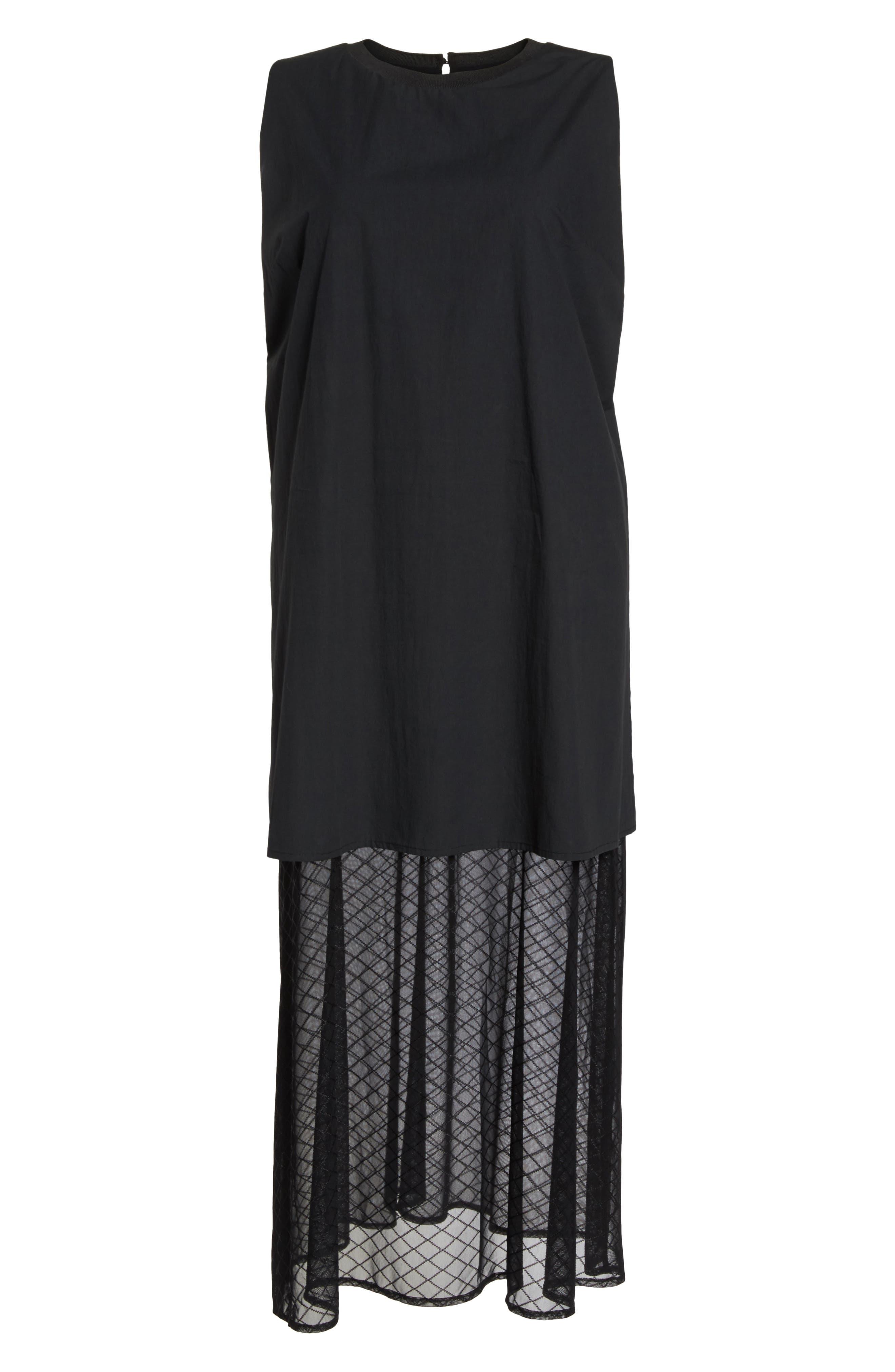 The Agata Sheer Hem Maxi Dress,                             Alternate thumbnail 8, color,                             BLACK