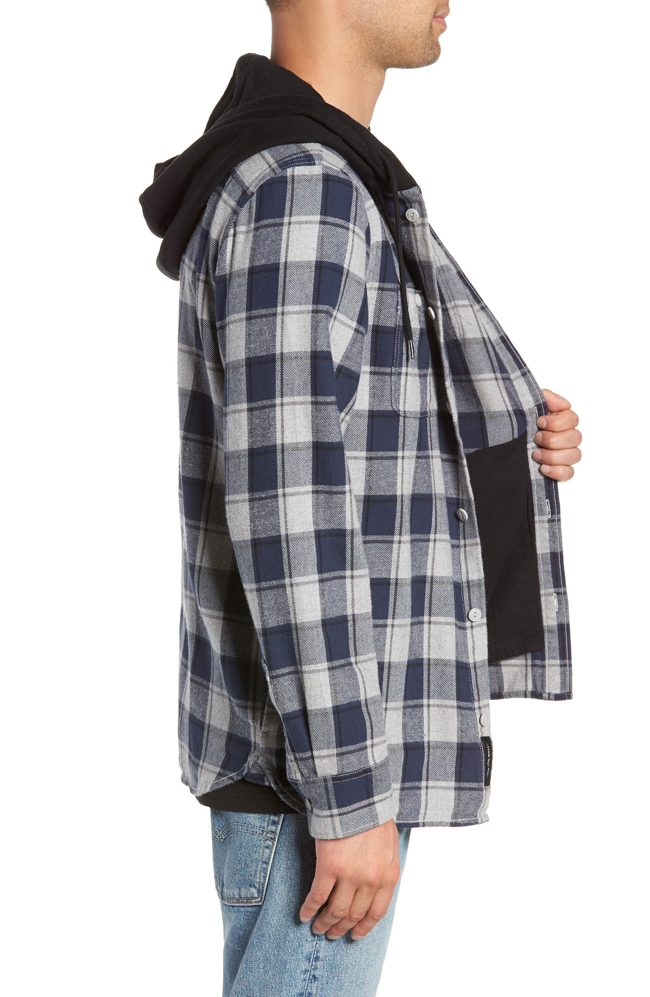 Lopes Hooded Plaid Flannel Jacket,                             Alternate thumbnail 3, color,                             DRESS BLUES/ GREY HEATHER