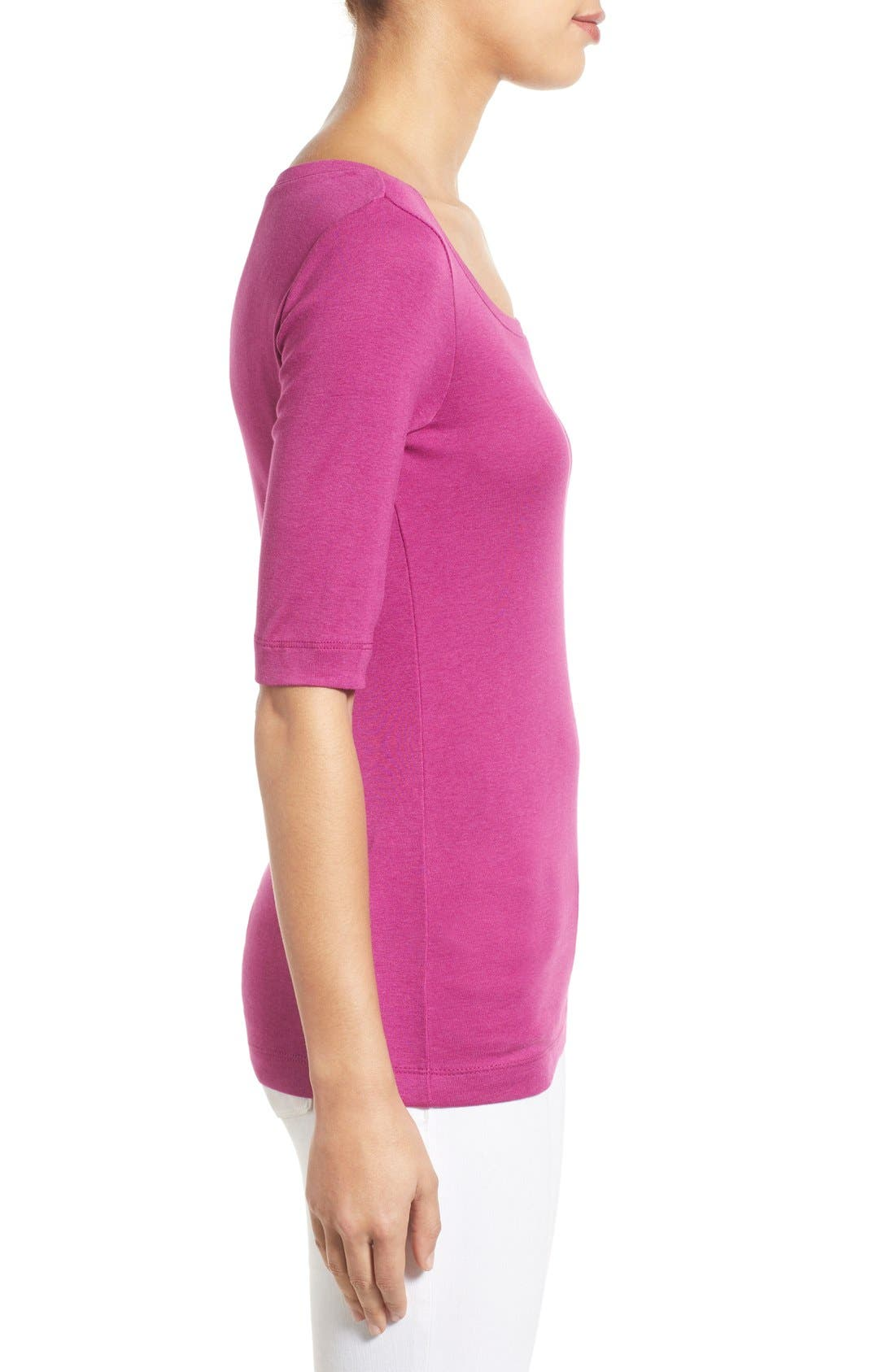Ballet Neck Cotton & Modal Knit Elbow Sleeve Tee,                             Alternate thumbnail 95, color,