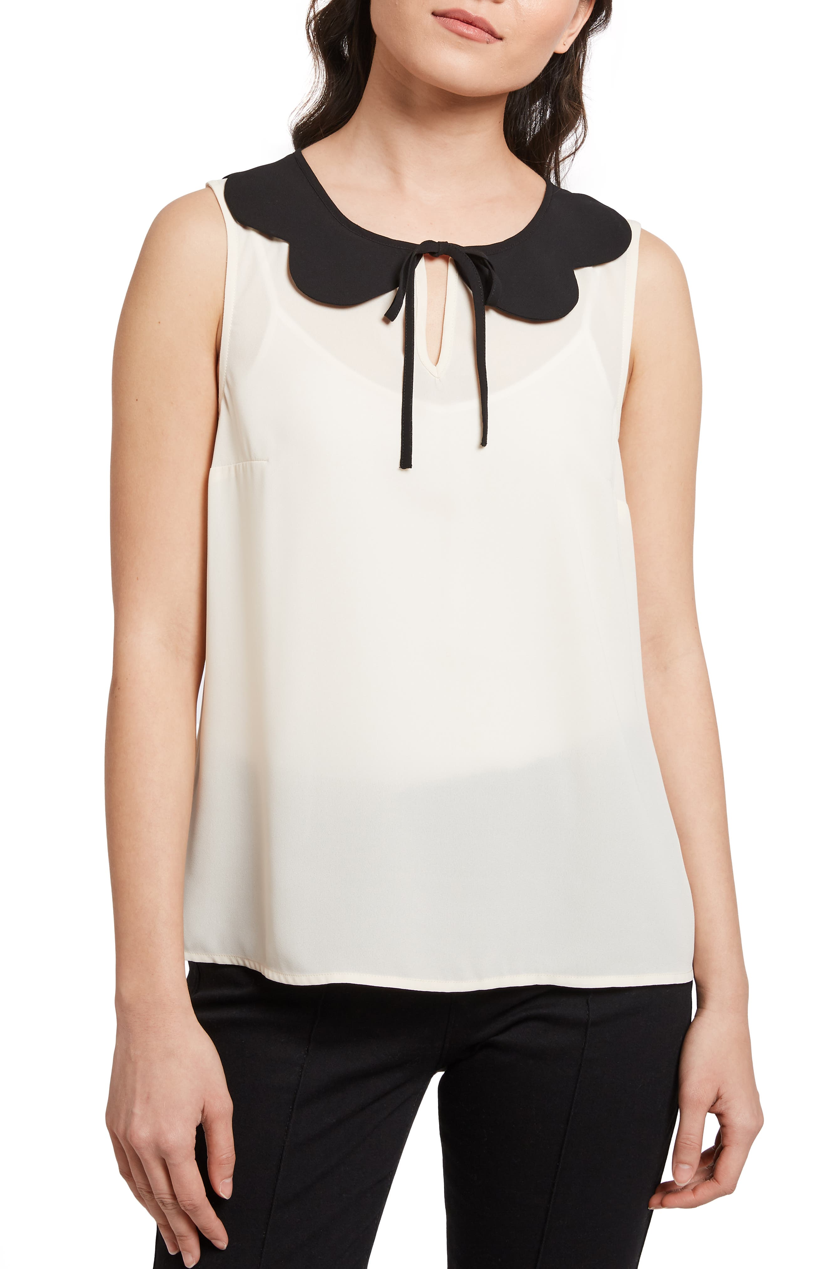Vintage & Retro Shirts, Halter Tops, Blouses Womens Modcloth Petal Collar Sleeveless Top $45.00 AT vintagedancer.com