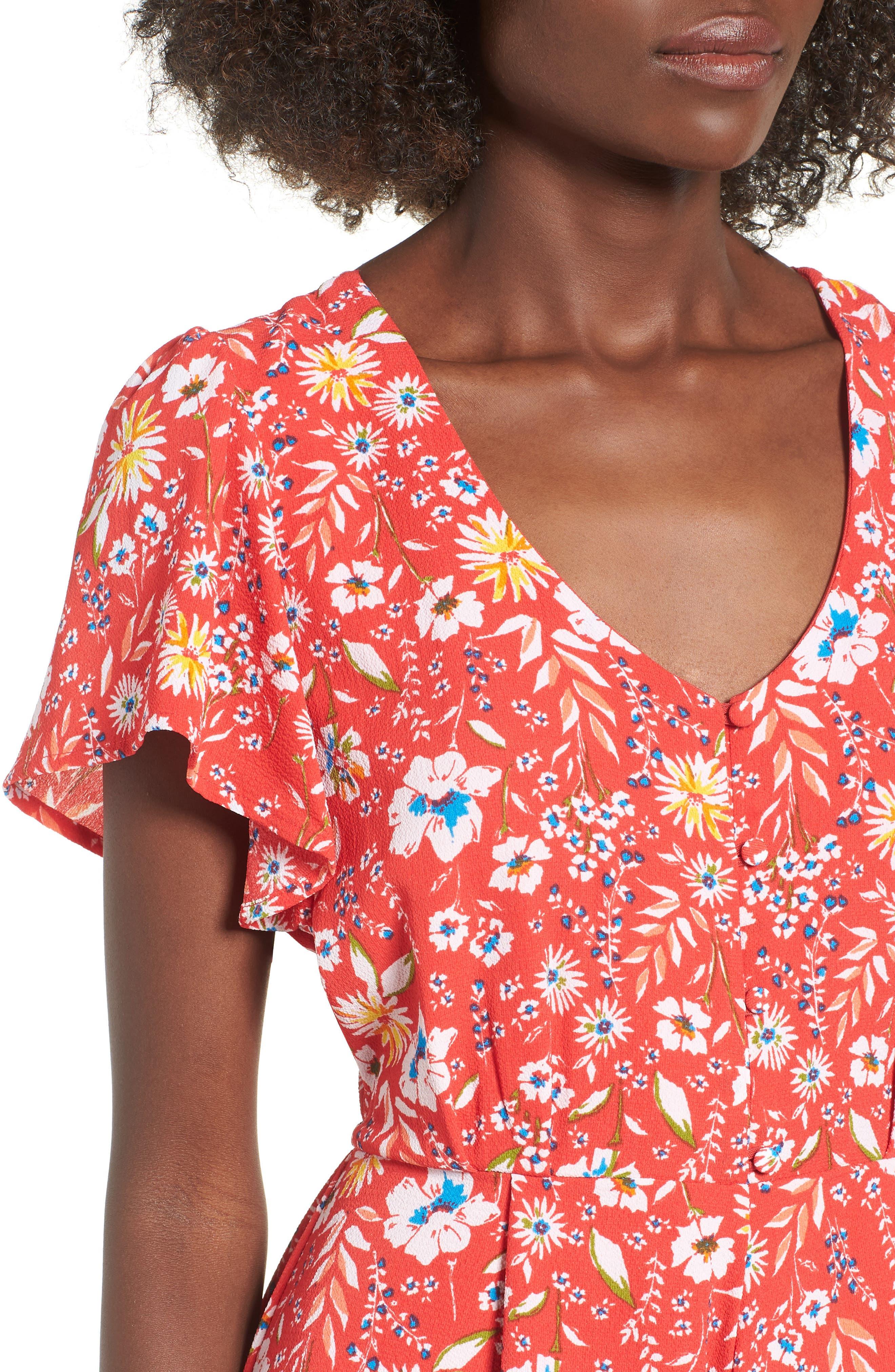 Floral Romper,                             Alternate thumbnail 4, color,                             RED FLORAL