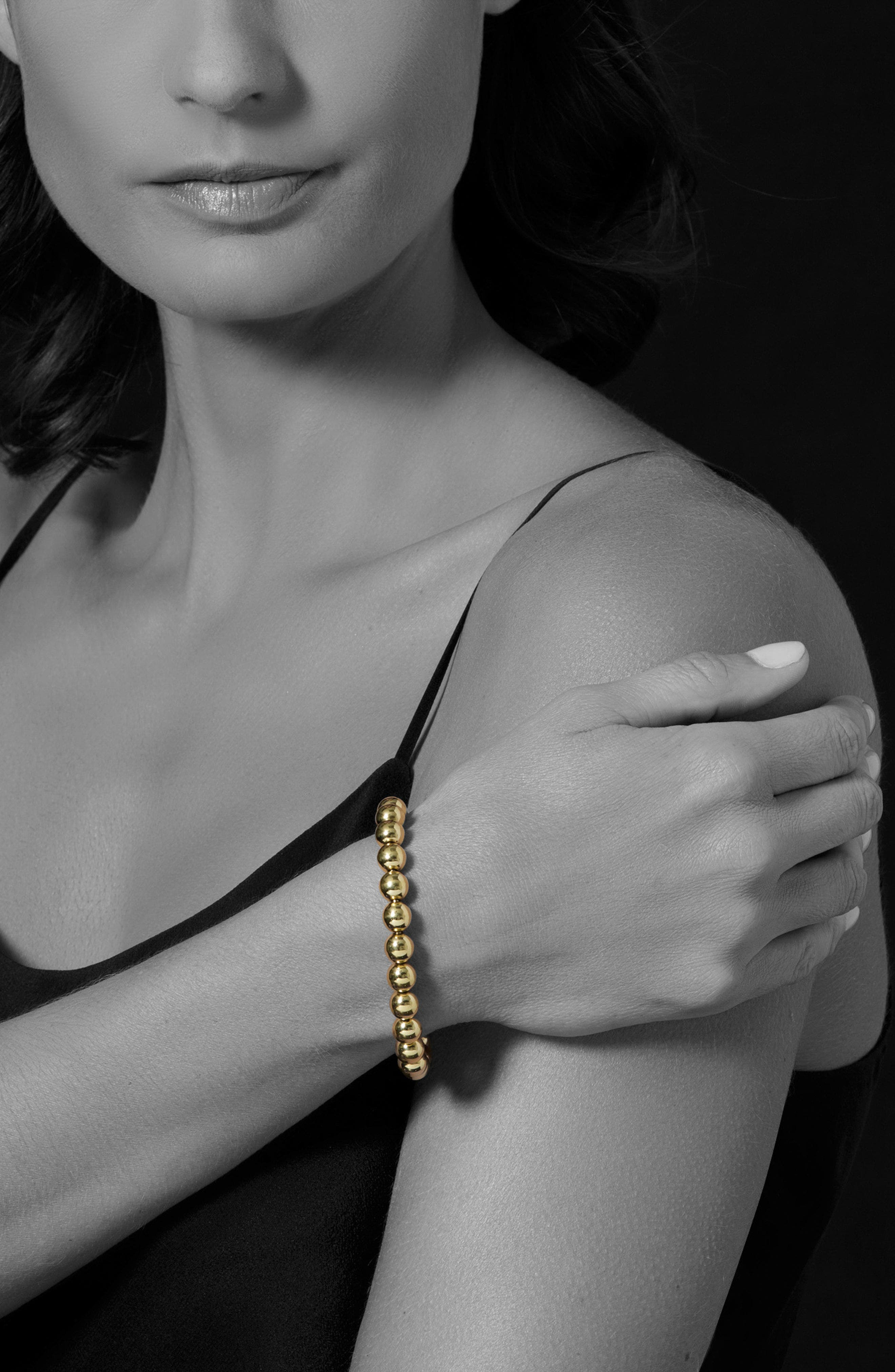 Caviar Gold Ball Stretch Bracelet,                             Alternate thumbnail 2, color,                             GOLD
