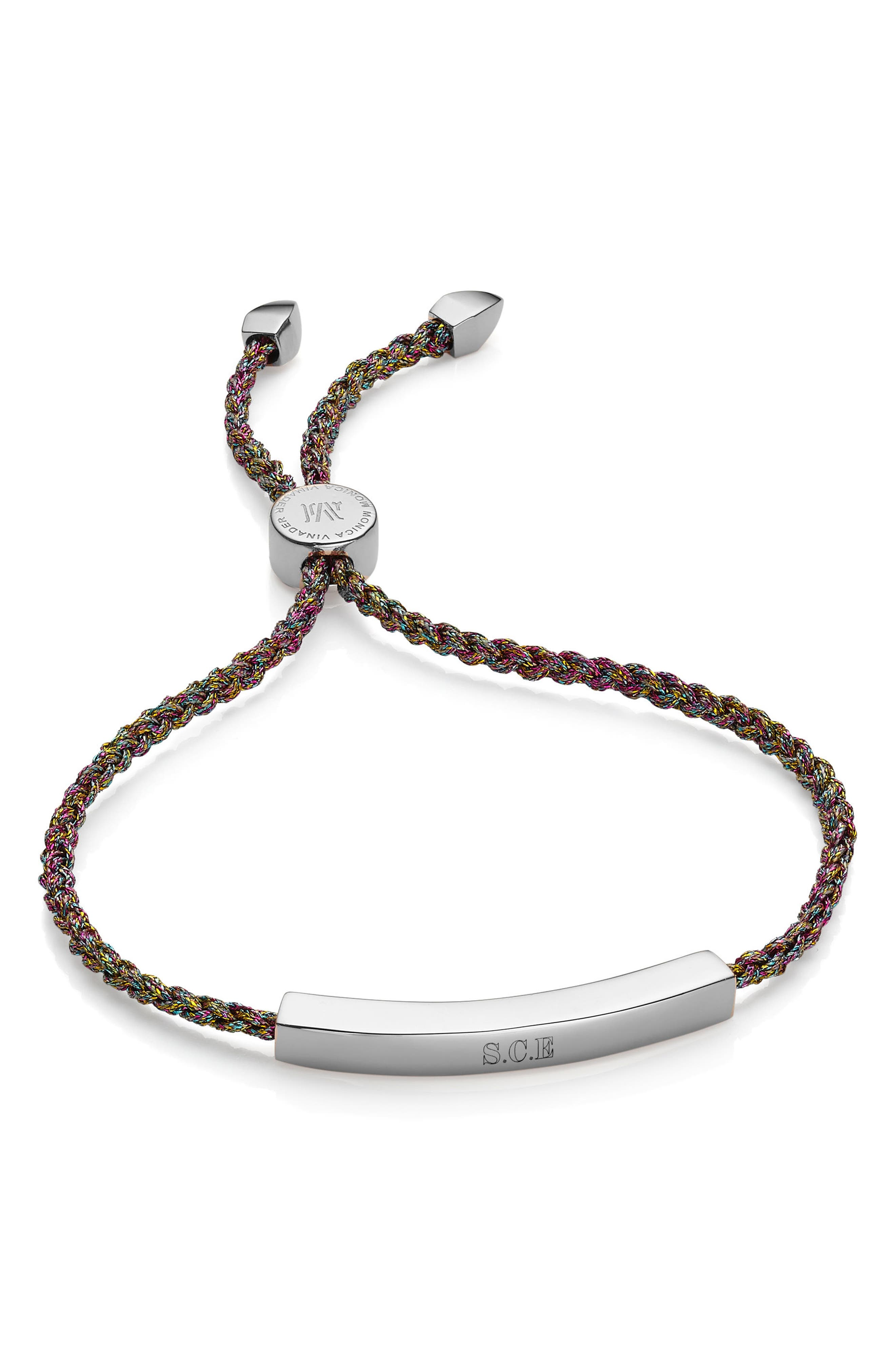 Engravable Linear Friendship Bracelet,                             Alternate thumbnail 4, color,                             SILVER/ RAINBOW
