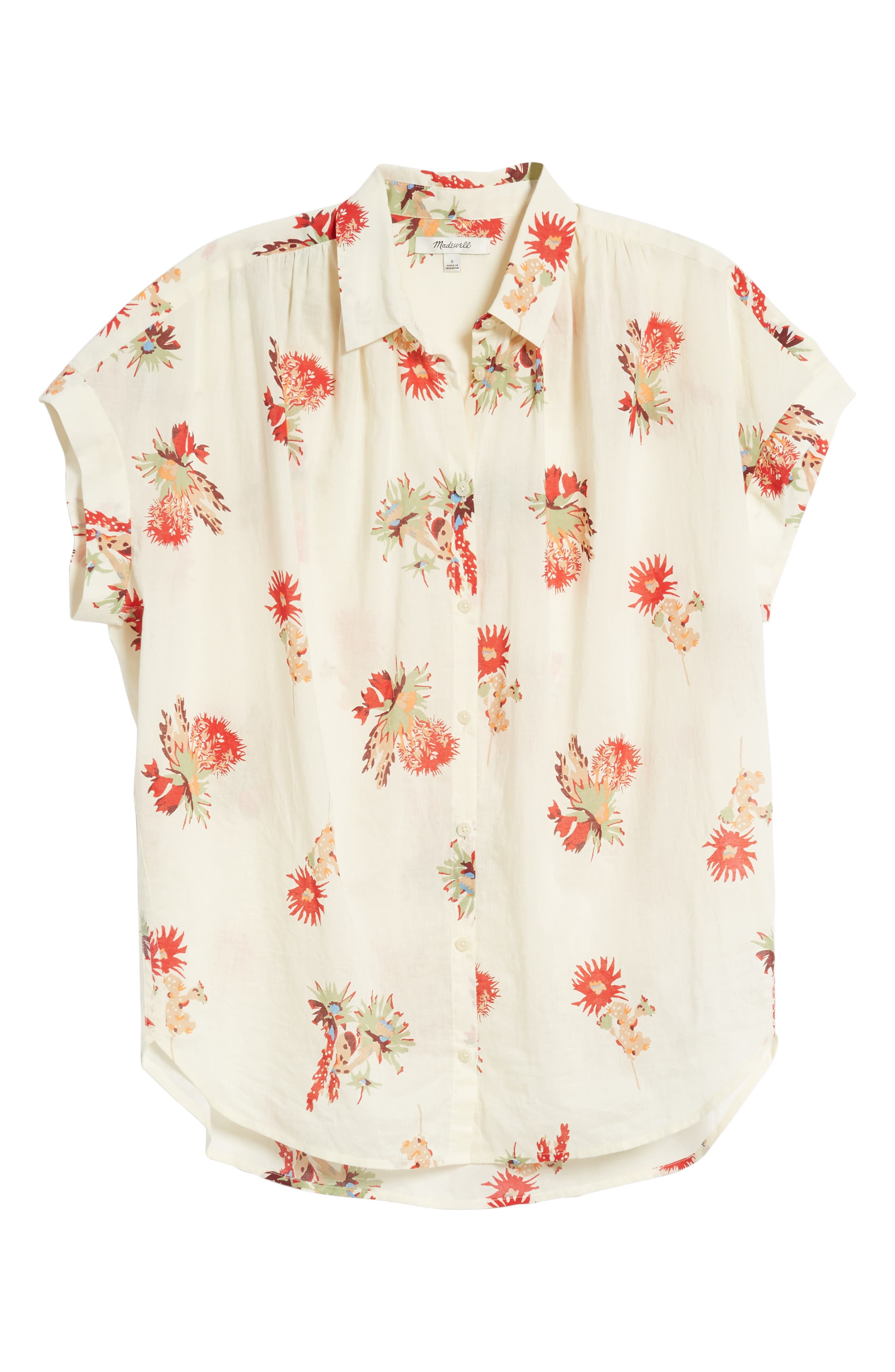 Central Cactus Floral Shirt,                             Alternate thumbnail 6, color,                             100