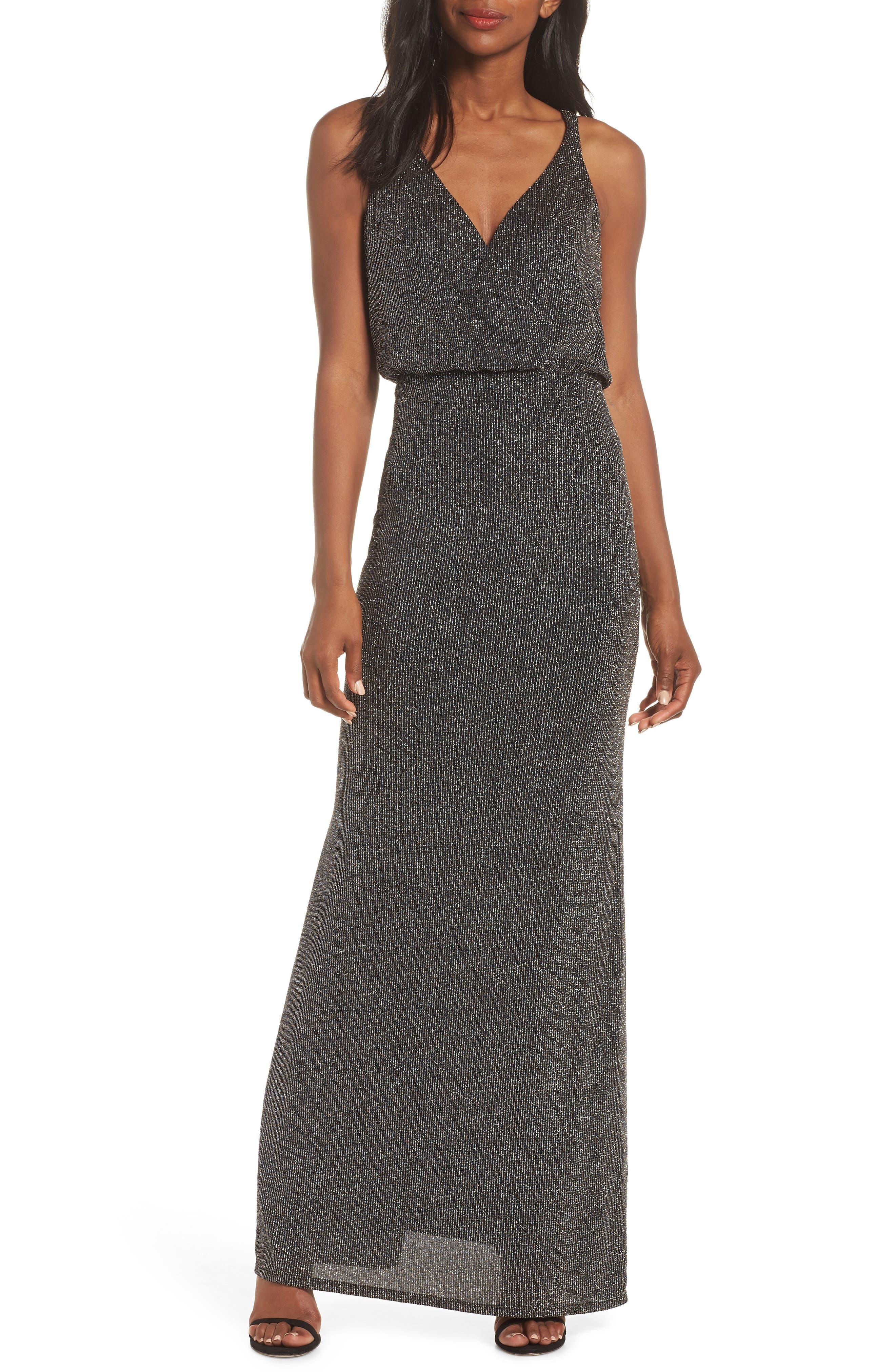 Blouson Gown, Main, color, BLACK
