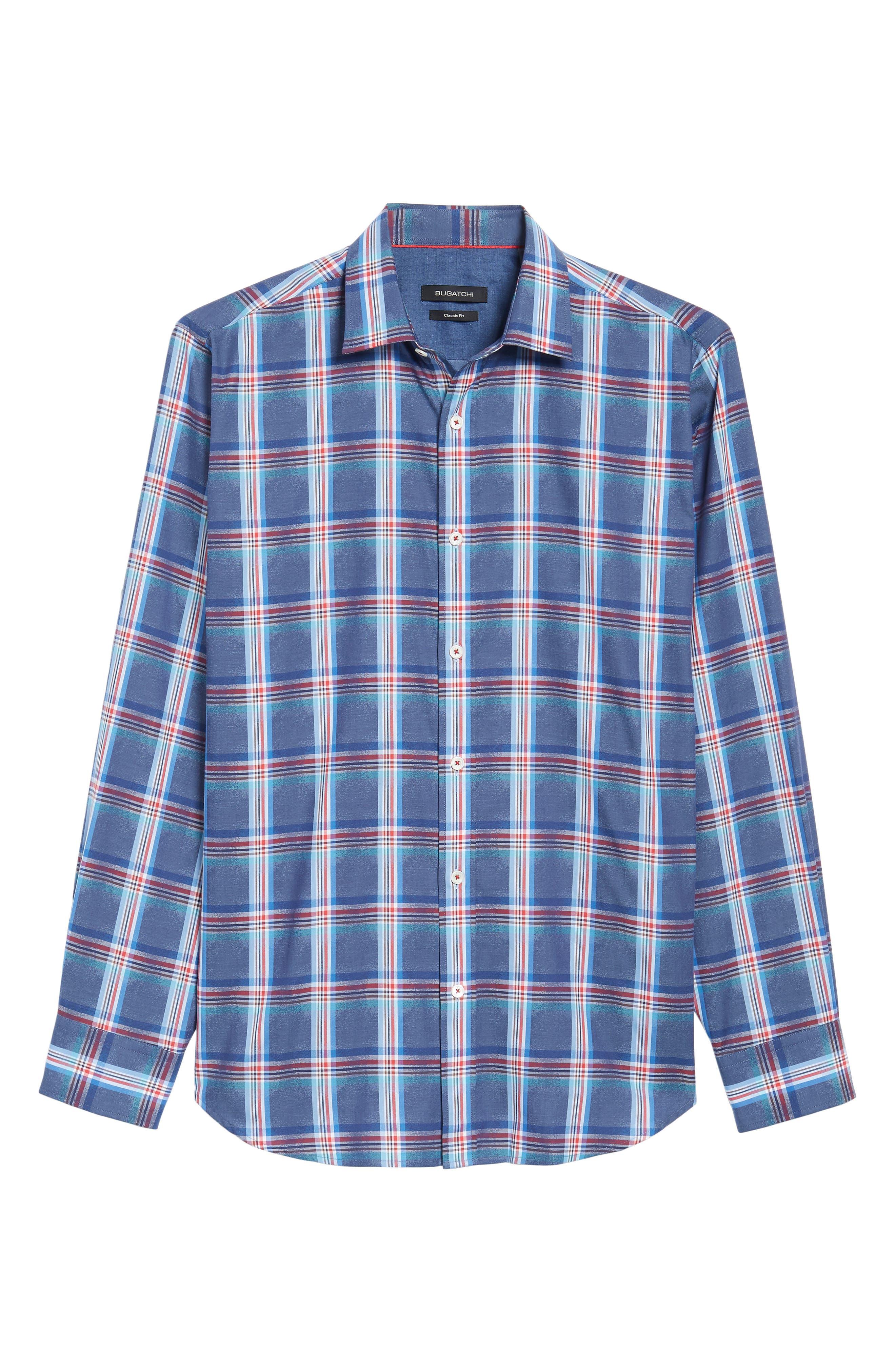Classic Fit Plaid Sport Shirt,                             Alternate thumbnail 6, color,                             411
