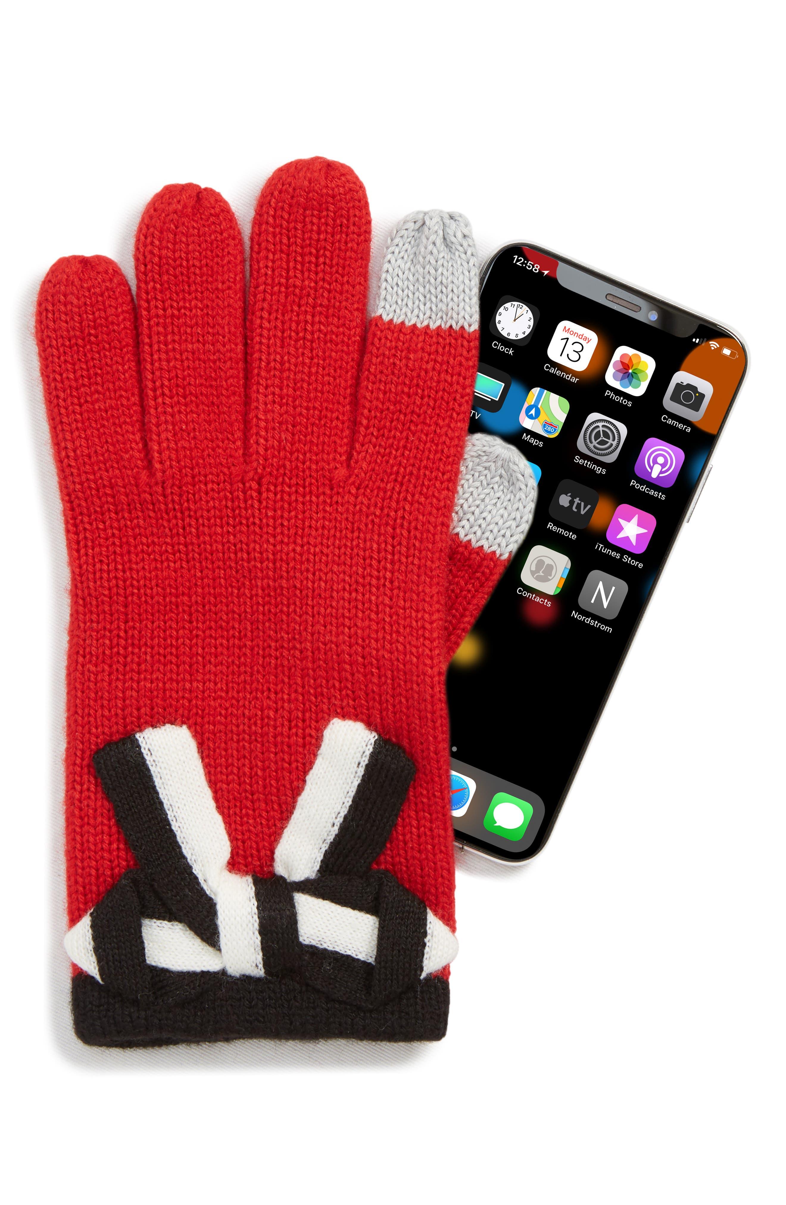 bow appliqué gloves,                             Alternate thumbnail 2, color,                             LINGONBERRY/ BLACK/ CREAM BOW
