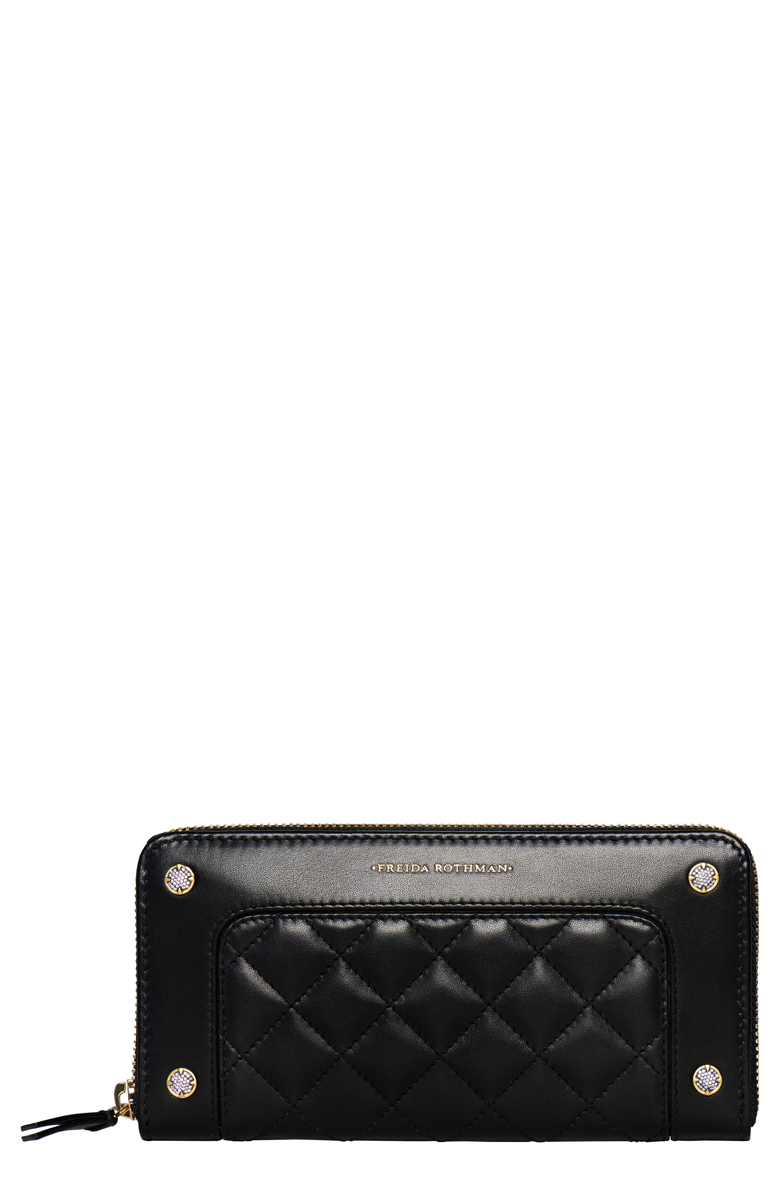 Quilted Leather Zip Around Wallet,                         Main,                         color, BLACK
