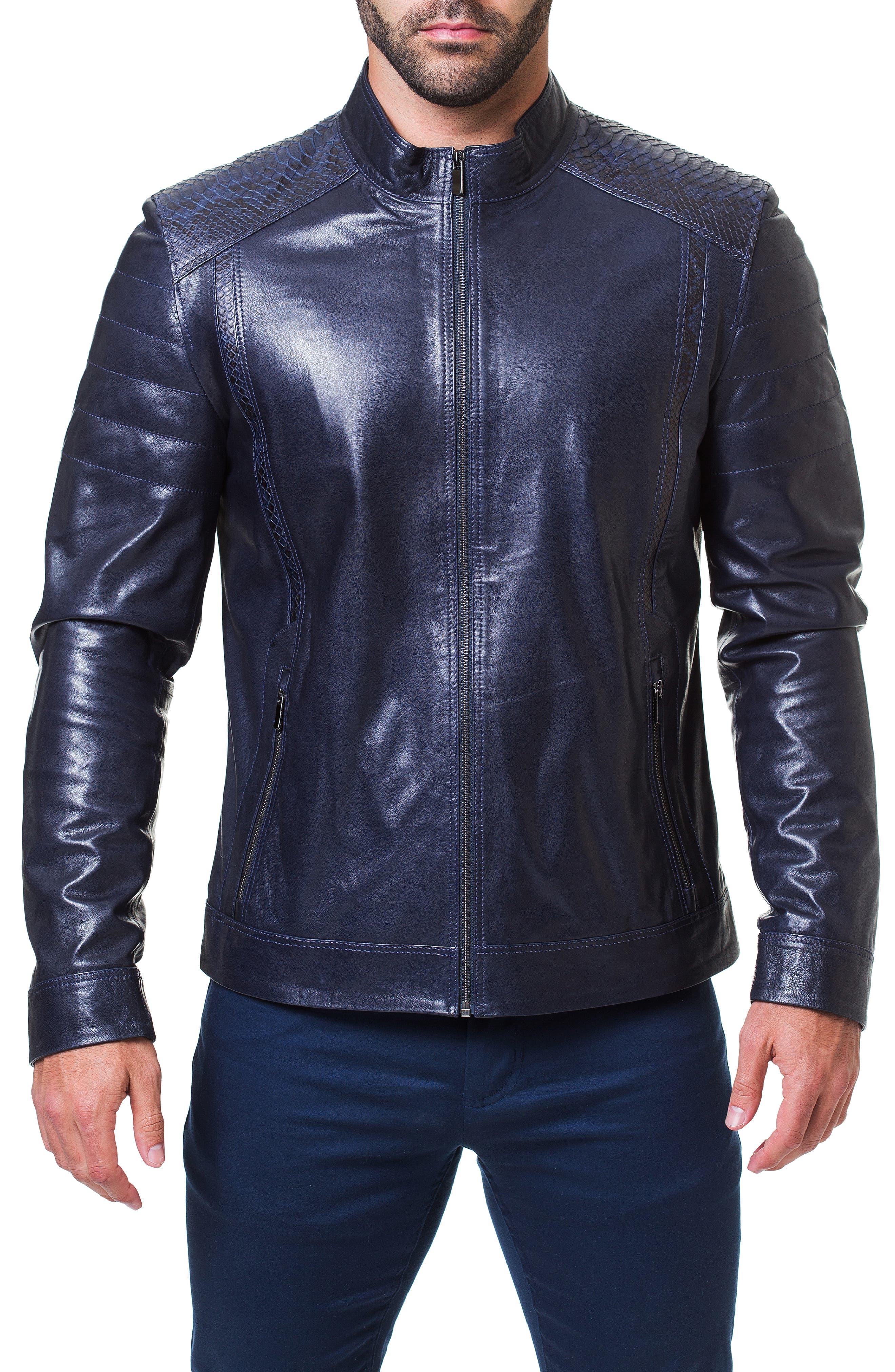 Mamba Shaped Fit Leather Jacket,                             Alternate thumbnail 4, color,                             BLUE