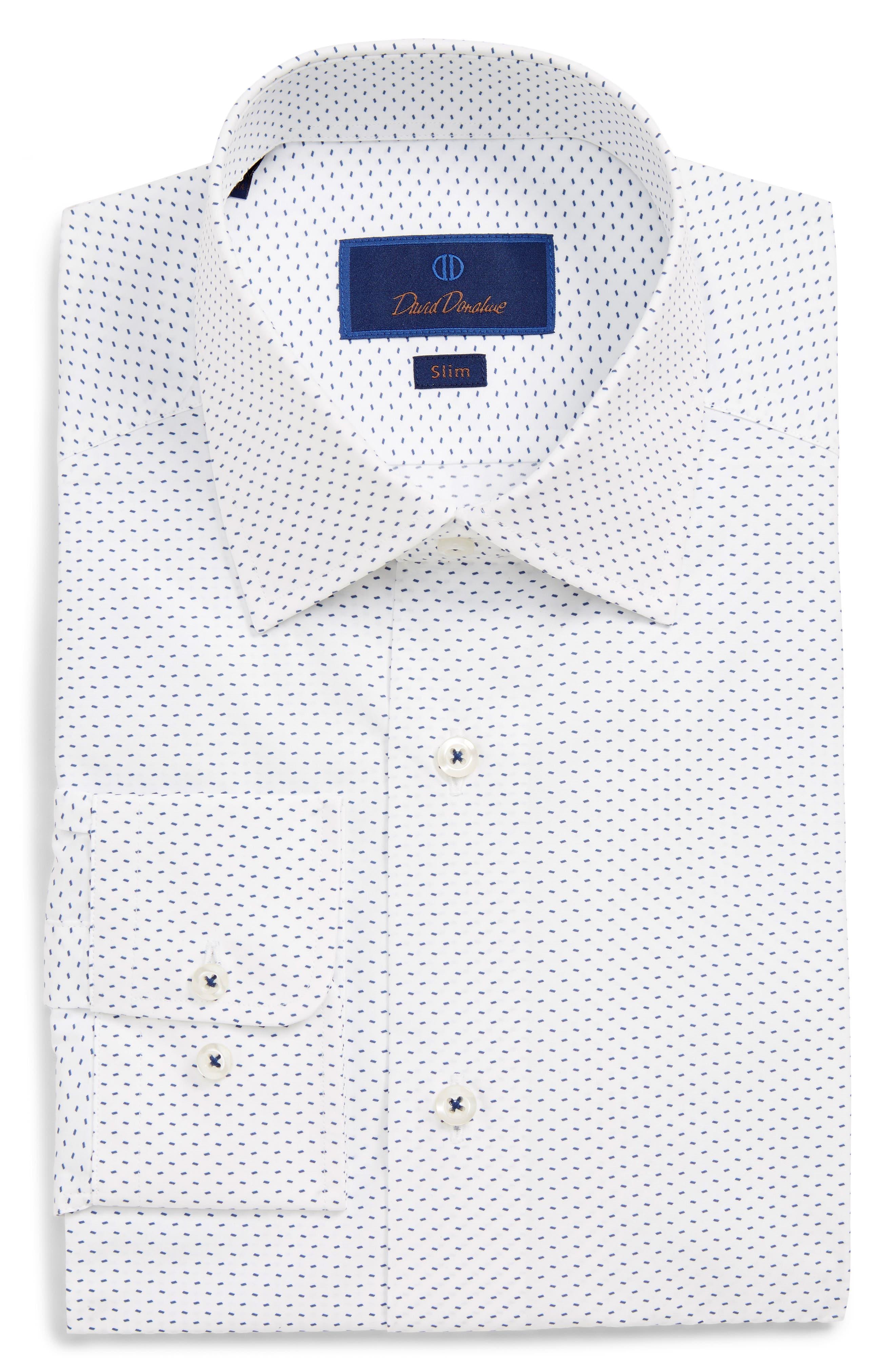 Slim Fit Print Dress Shirt,                             Main thumbnail 1, color,                             WHITE/ NAVY