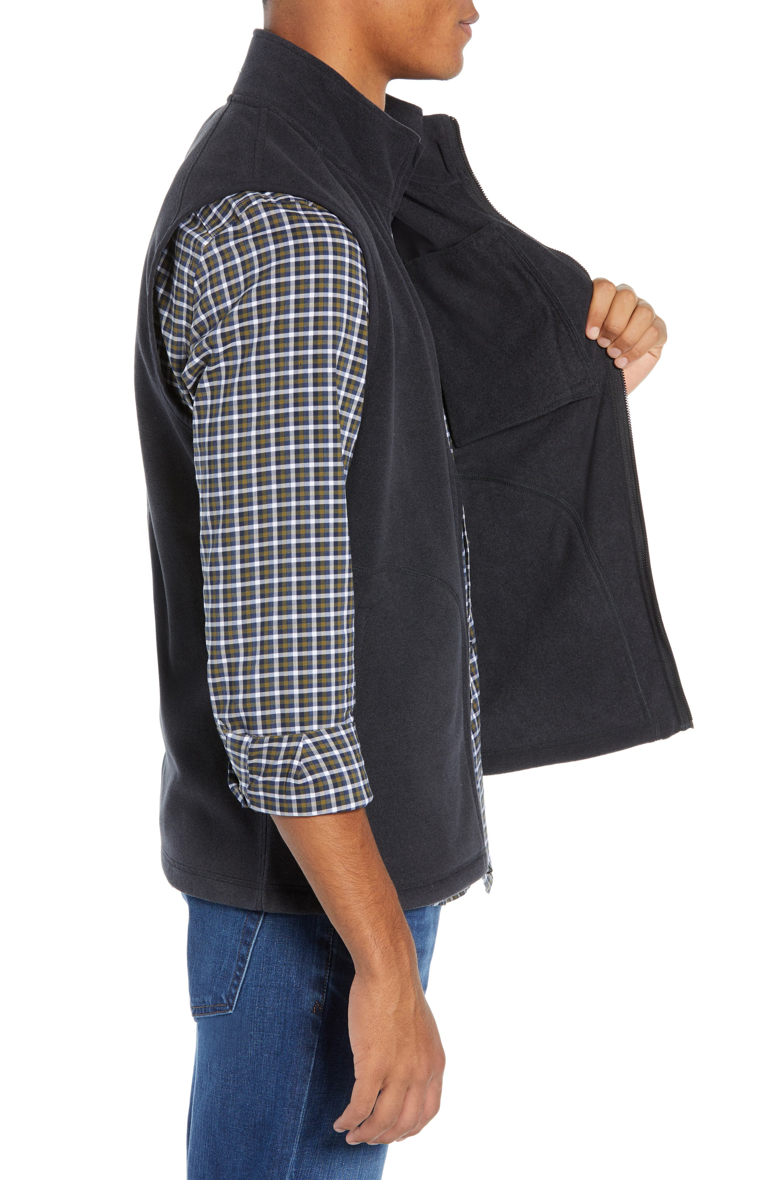 Polar Fleece Vest,                             Alternate thumbnail 3, color,                             001