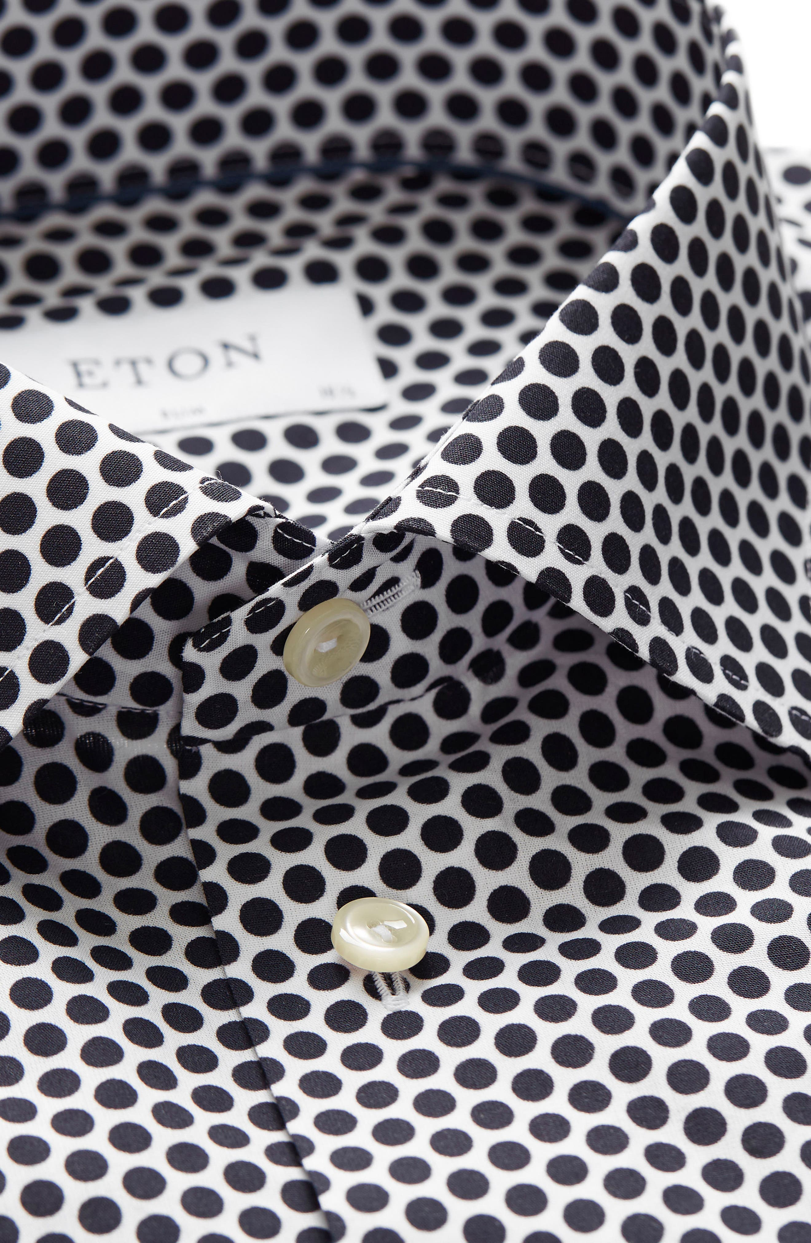Slim Fit Dot Dress Shirt,                             Alternate thumbnail 3, color,                             001