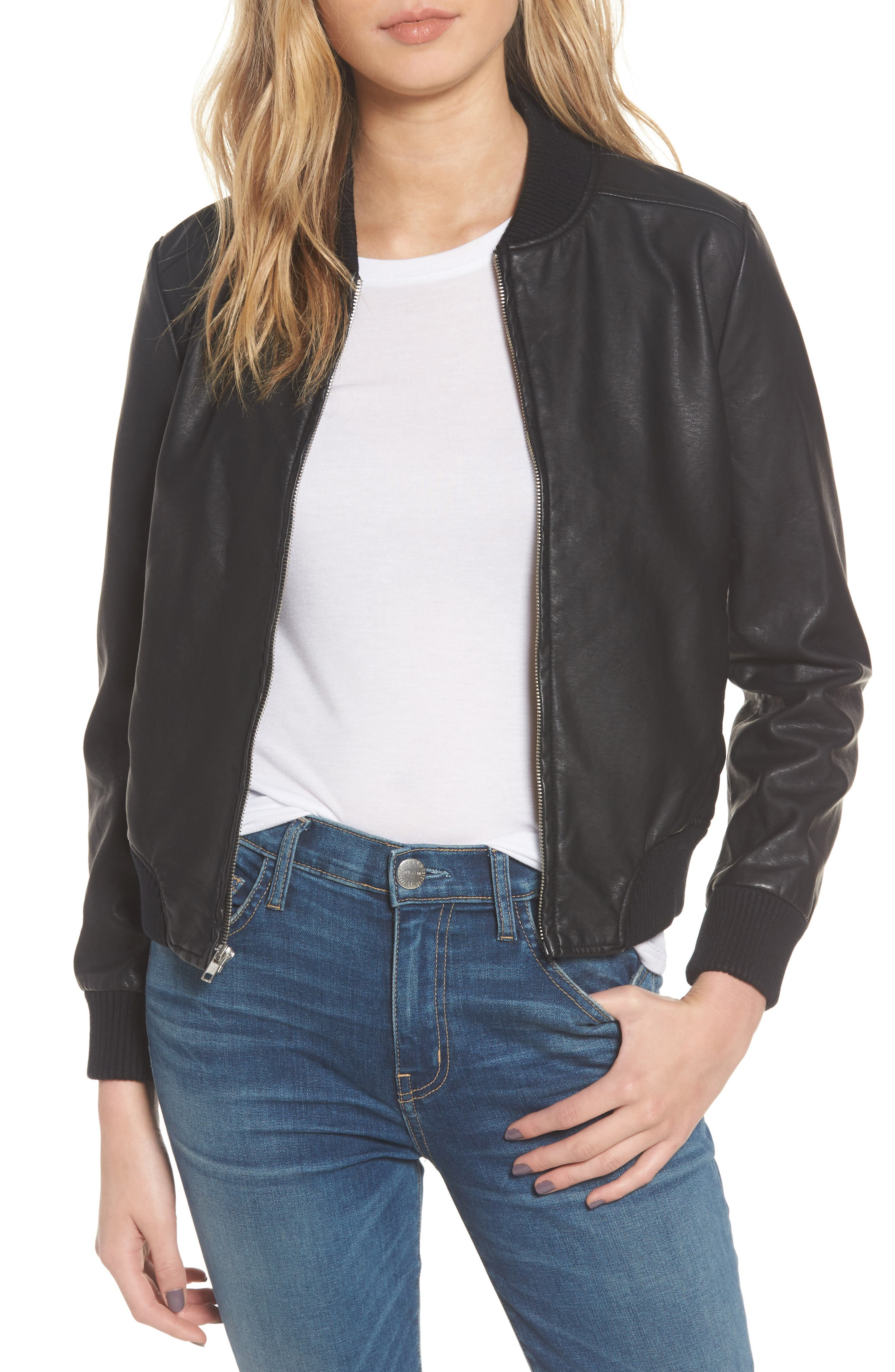 Gavin Faux Leather Bomber Jacket,                         Main,                         color, 001