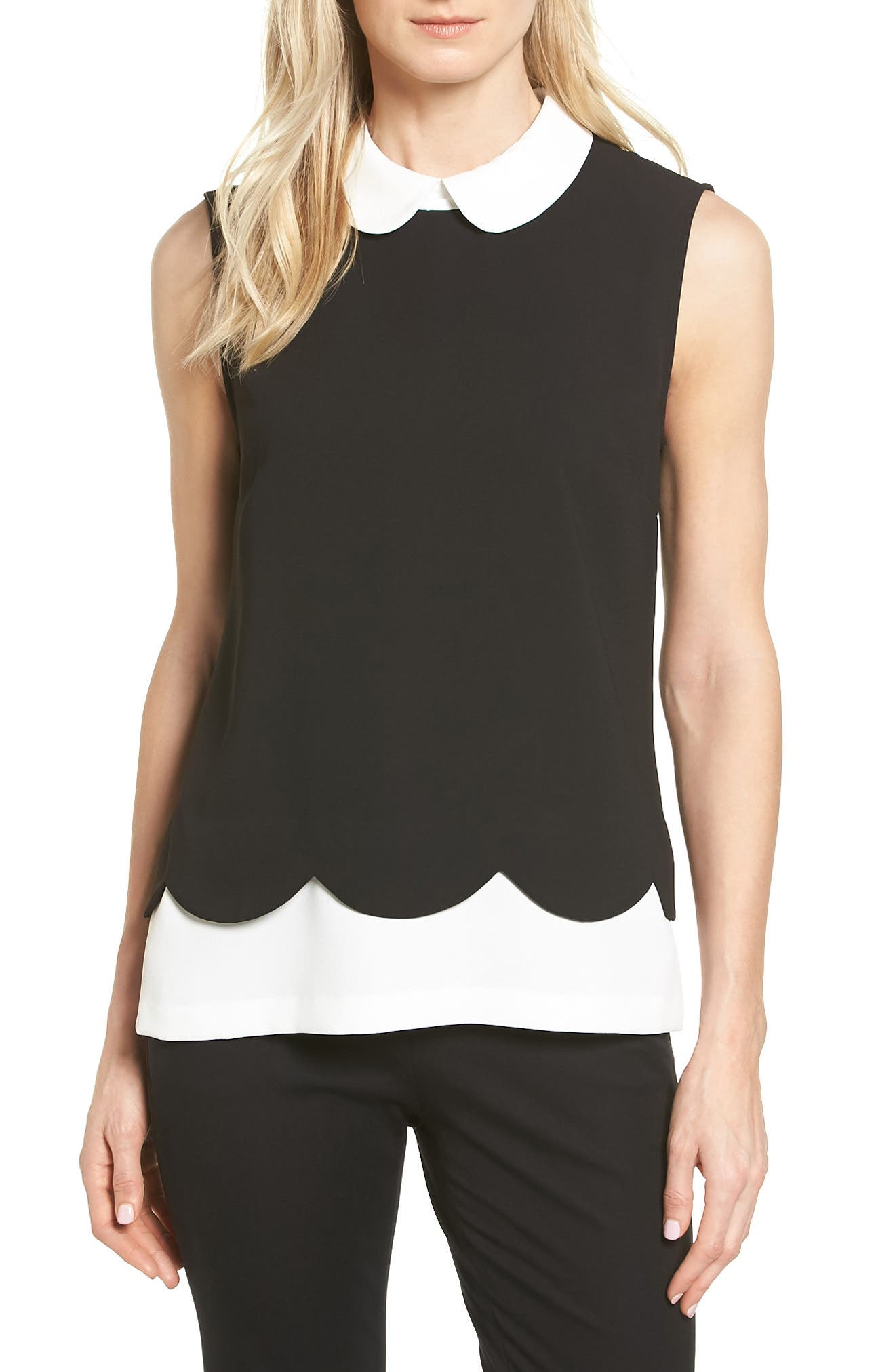 Scallop Detail Layer Look Blouse, Main, color, 006
