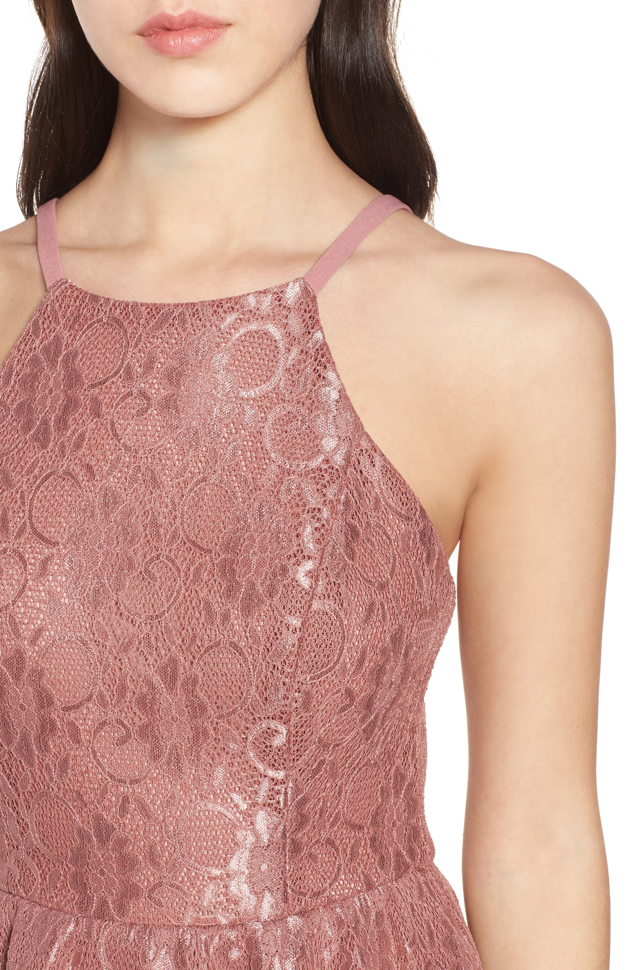Lace Halter Low Back Party Dress,                             Alternate thumbnail 4, color,                             NEW MAUVE