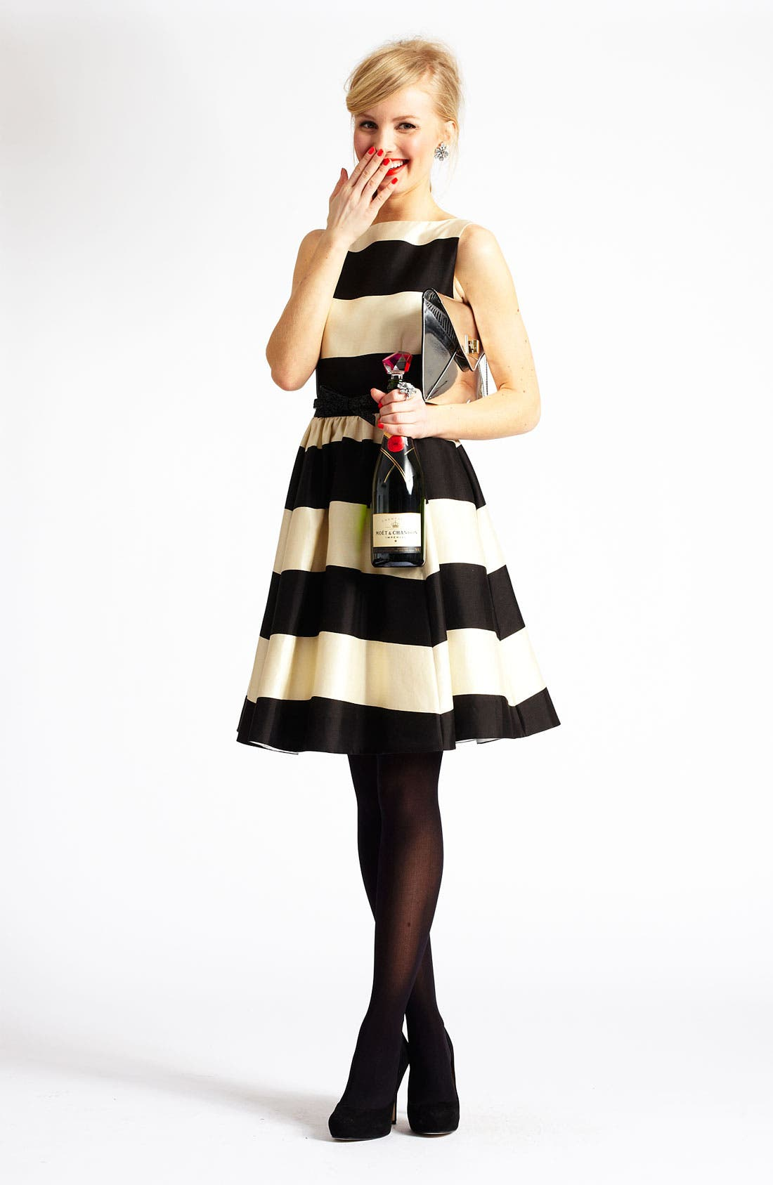 'carolyn' stripe fit & flare dress,                             Alternate thumbnail 4, color,                             200
