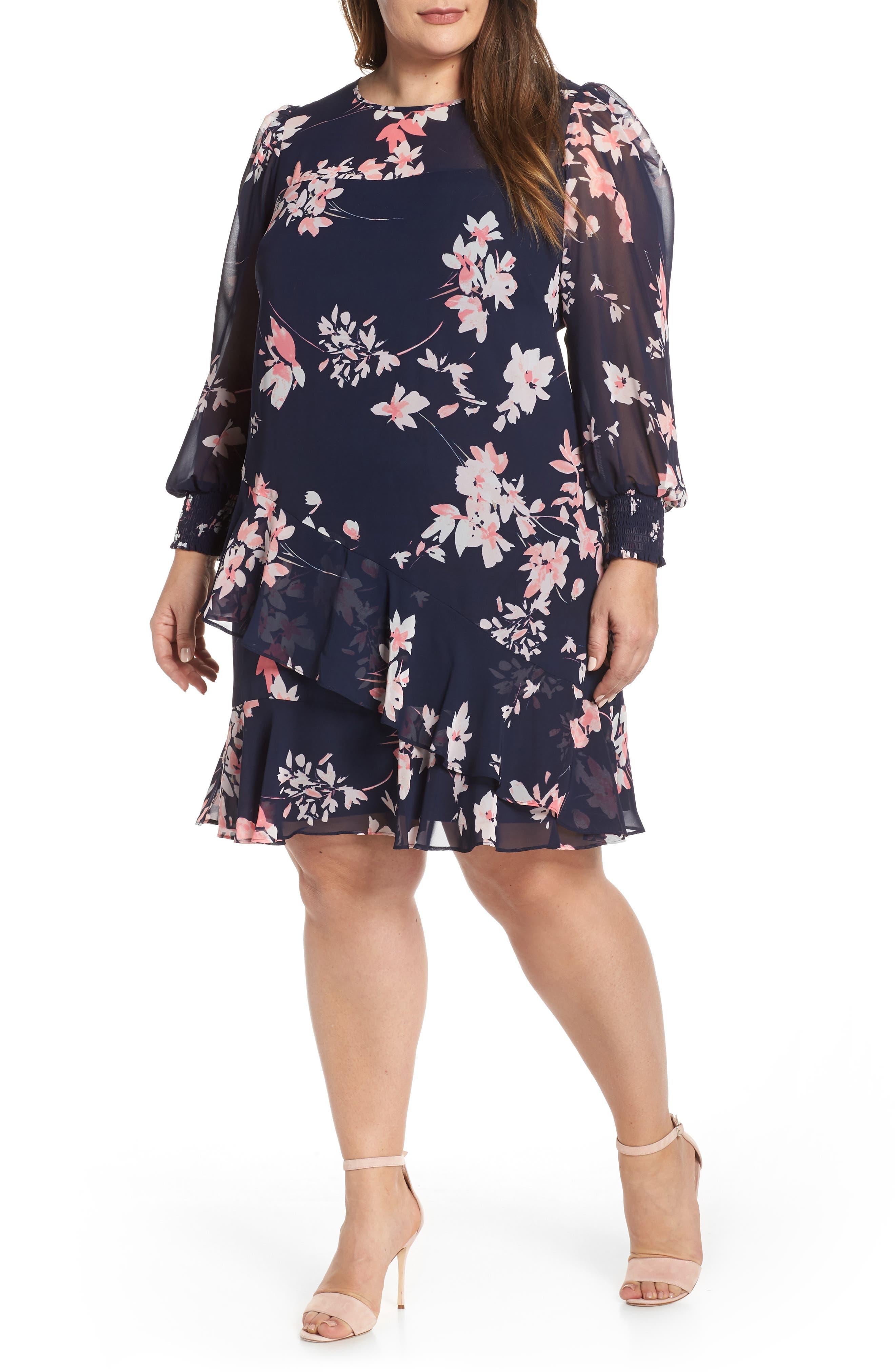 Plus Size Eliza J Floral Chiffon Shift Dress, Blue