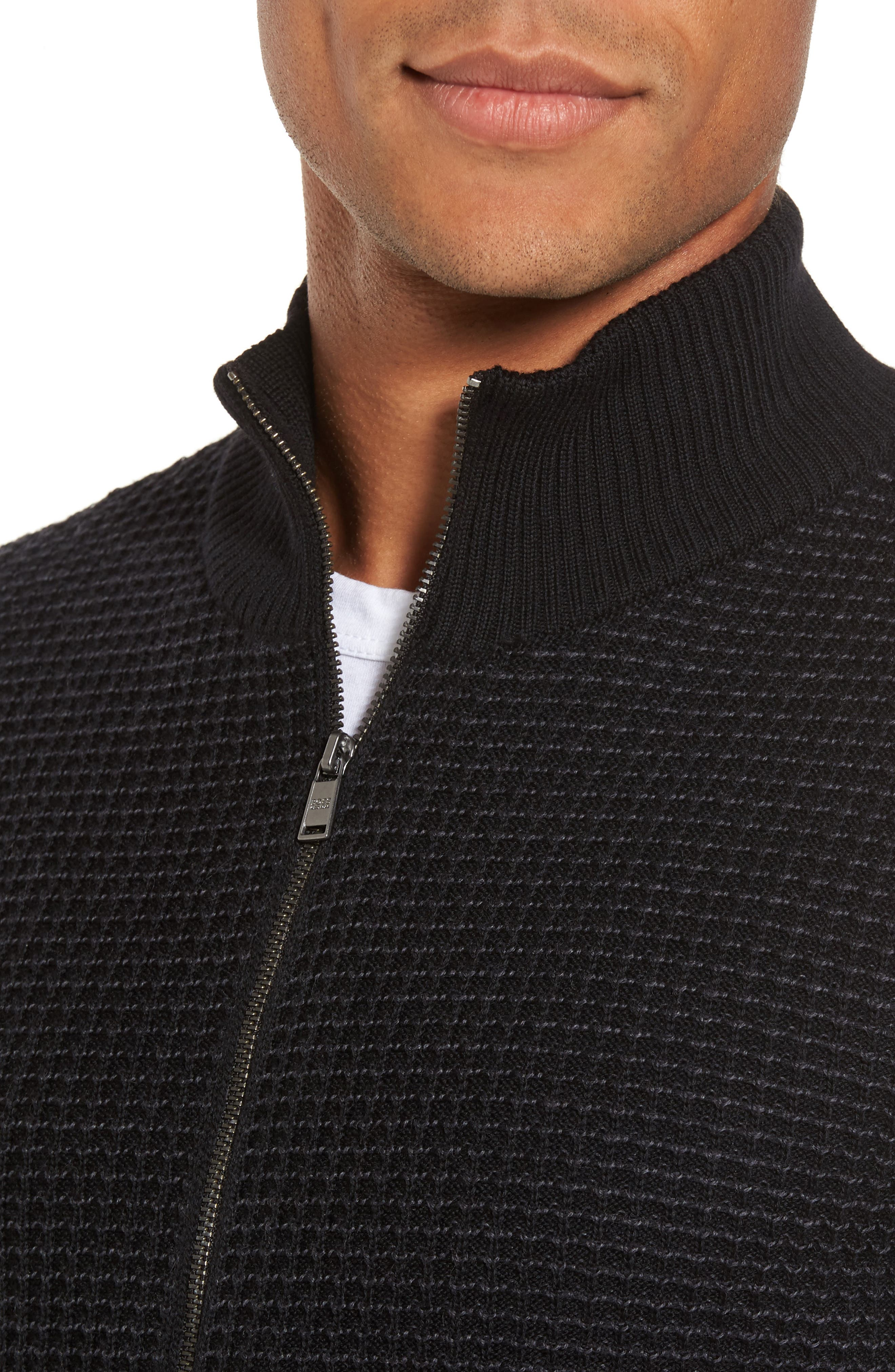 Bacco Full Zip Wool Sweater Jacket,                             Alternate thumbnail 4, color,                             001