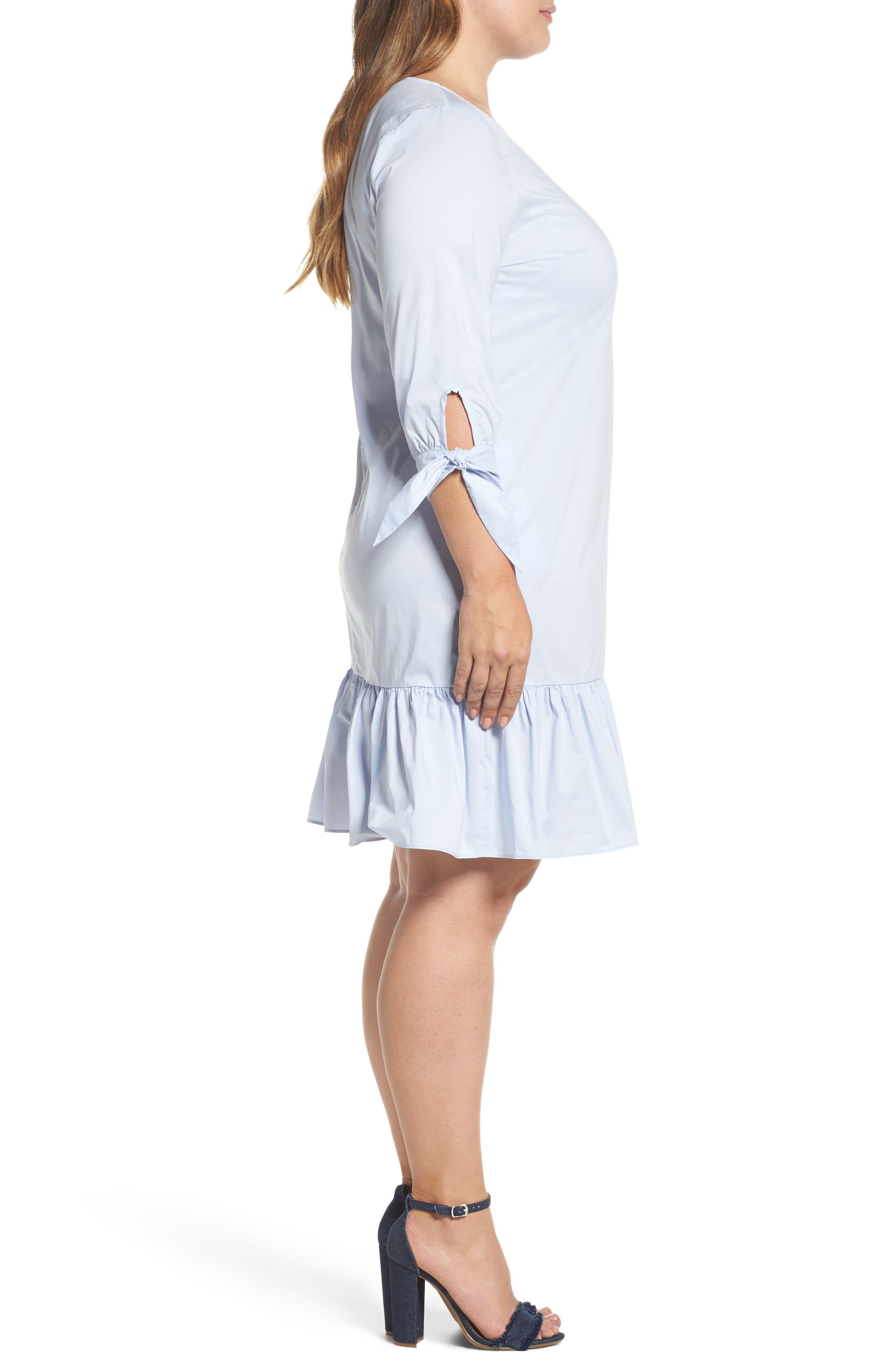 Ruffle Tie Sleeve Dress,                             Alternate thumbnail 3, color,                             460