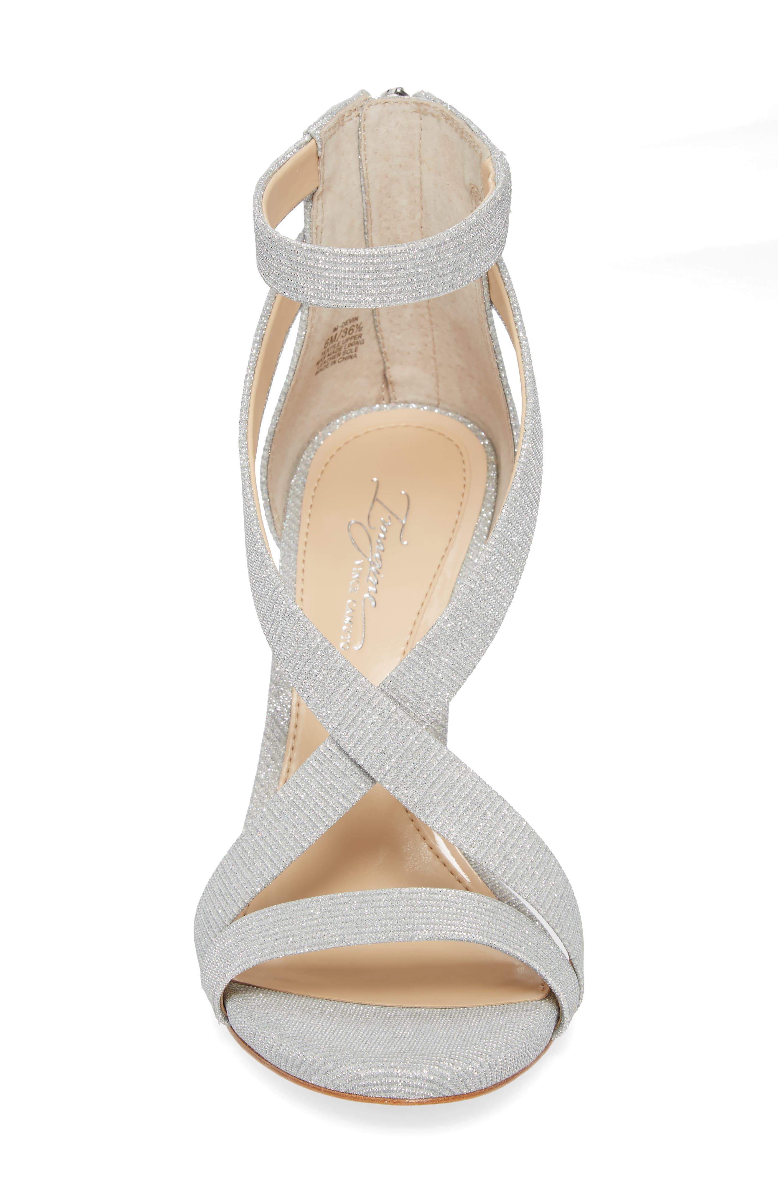 Imagine Vince Camuto 'Devin' Sandal,                             Alternate thumbnail 4, color,                             PLATINUM FABRIC