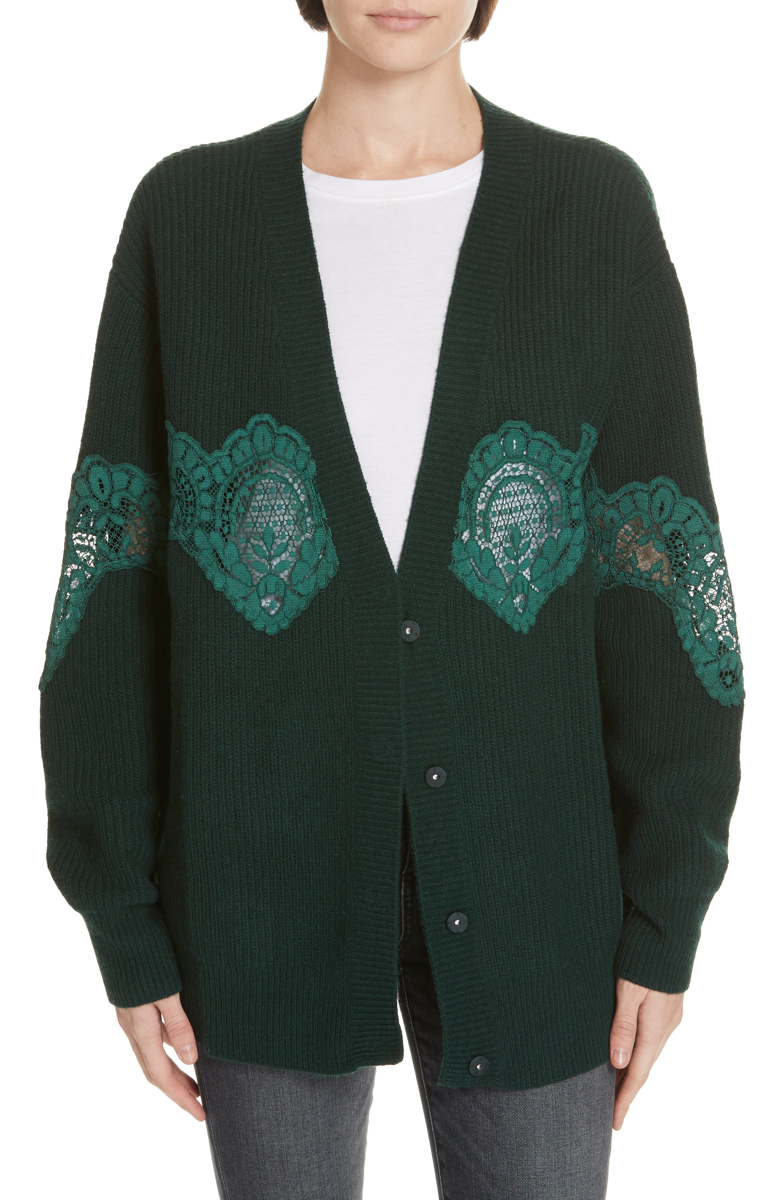 Tower Lace Inset Wool Blend Cardigan,                             Main thumbnail 1, color,                             BOTTLE GREEN