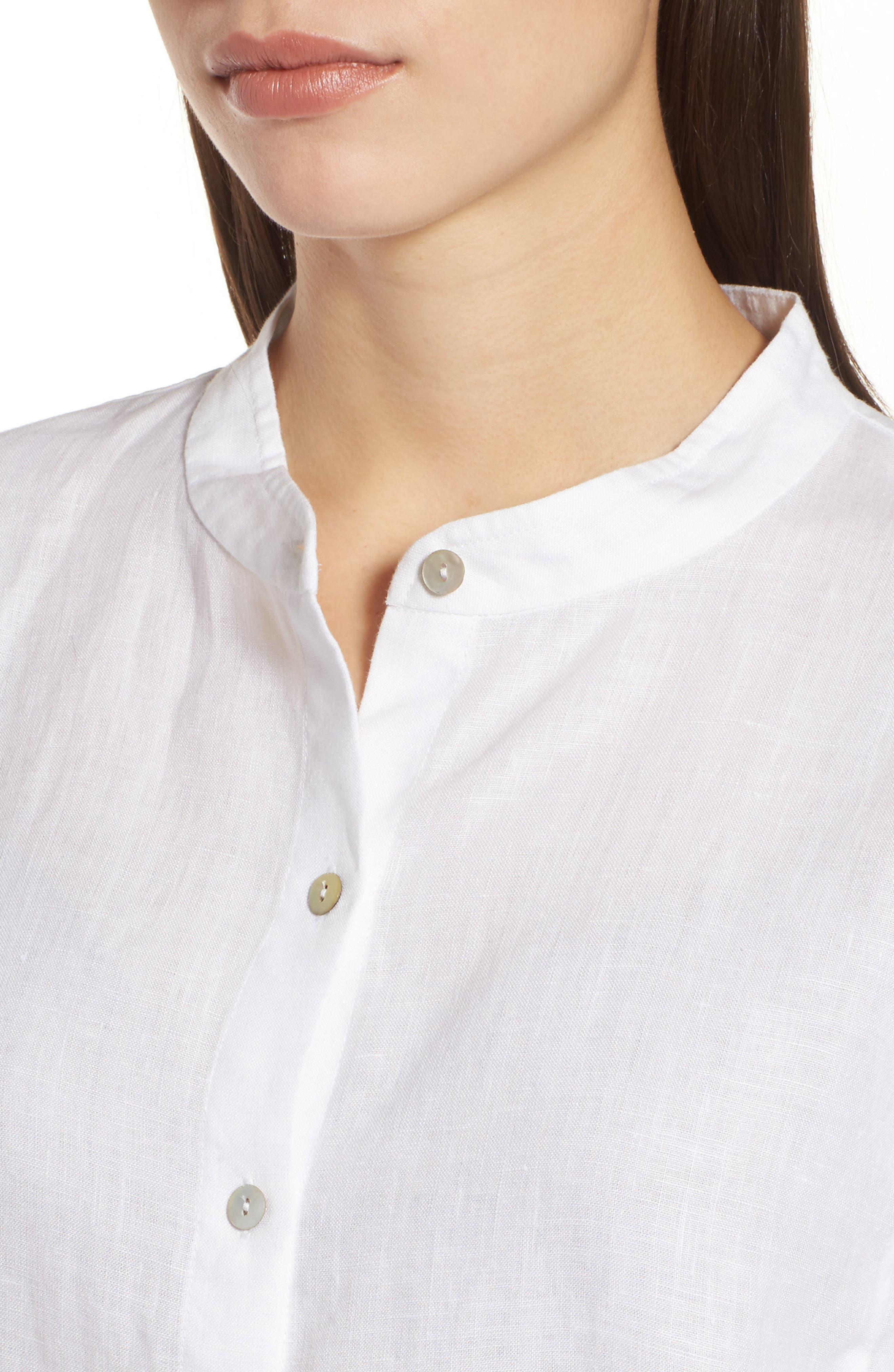 Organic Linen Tunic Shirt,                             Alternate thumbnail 4, color,                             100