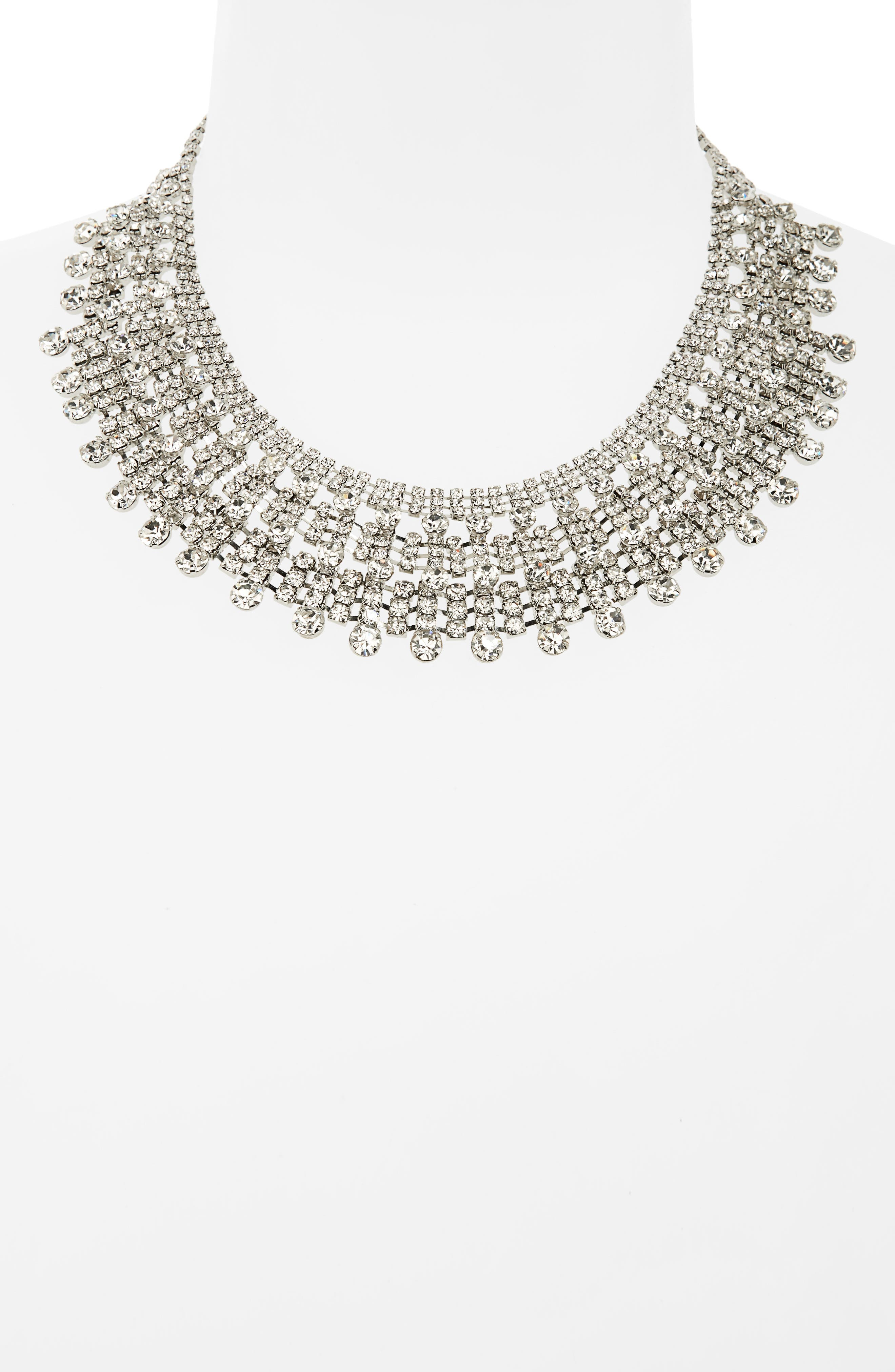 Crystal Drama Collar Necklace,                             Alternate thumbnail 2, color,                             SILVER