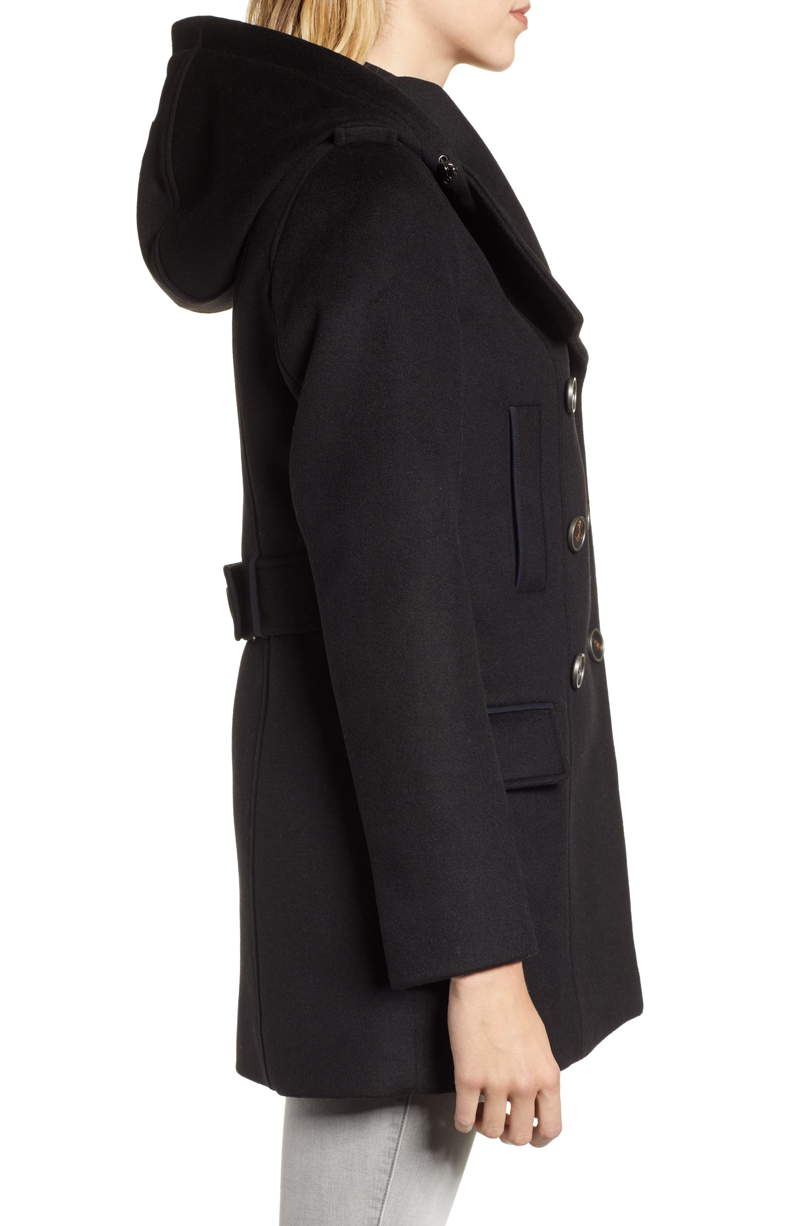 Hooded Peacoat,                             Alternate thumbnail 3, color,                             BLACK