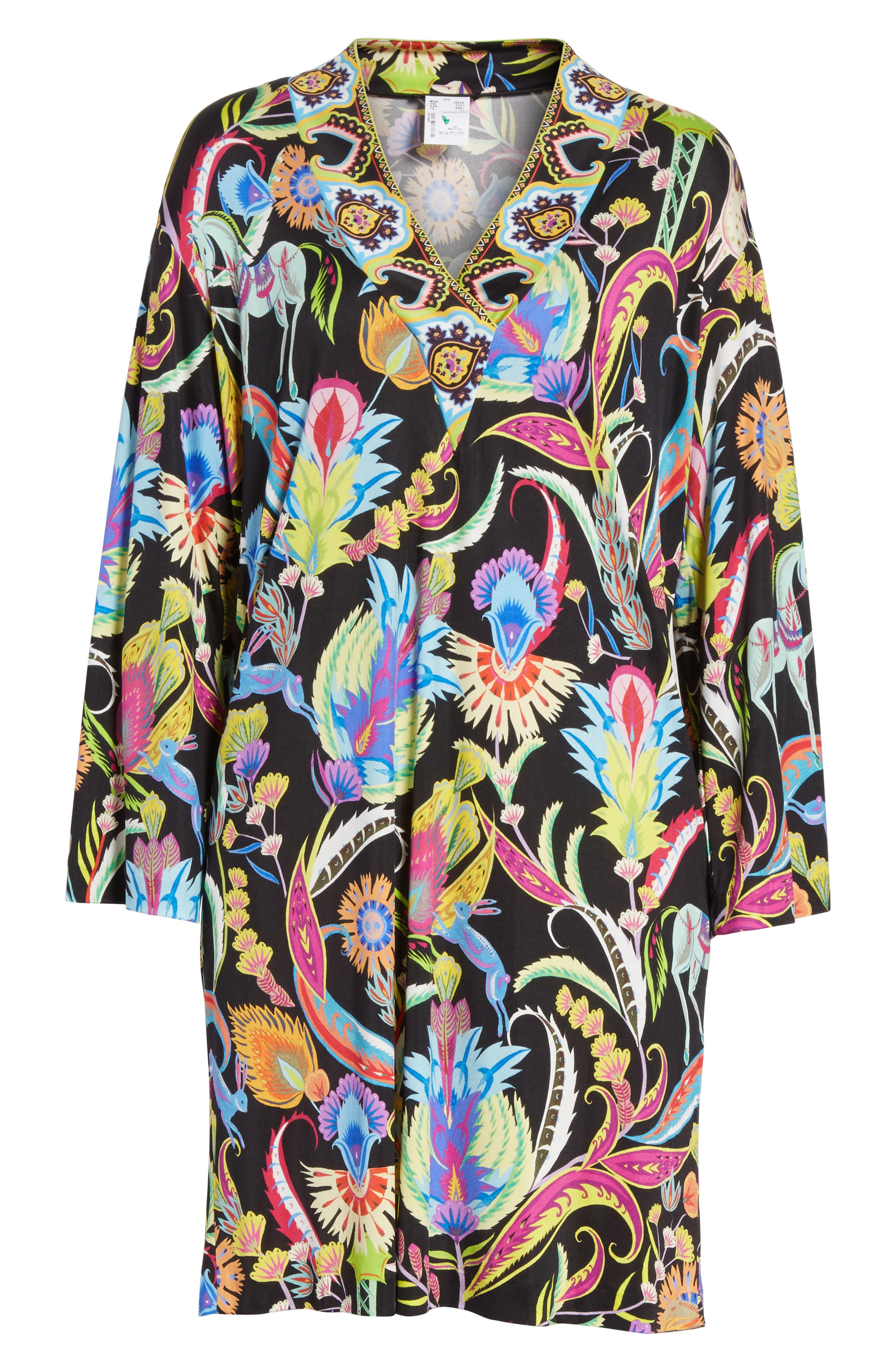 Floral Print Silk Shift Dress,                             Alternate thumbnail 6, color,                             001