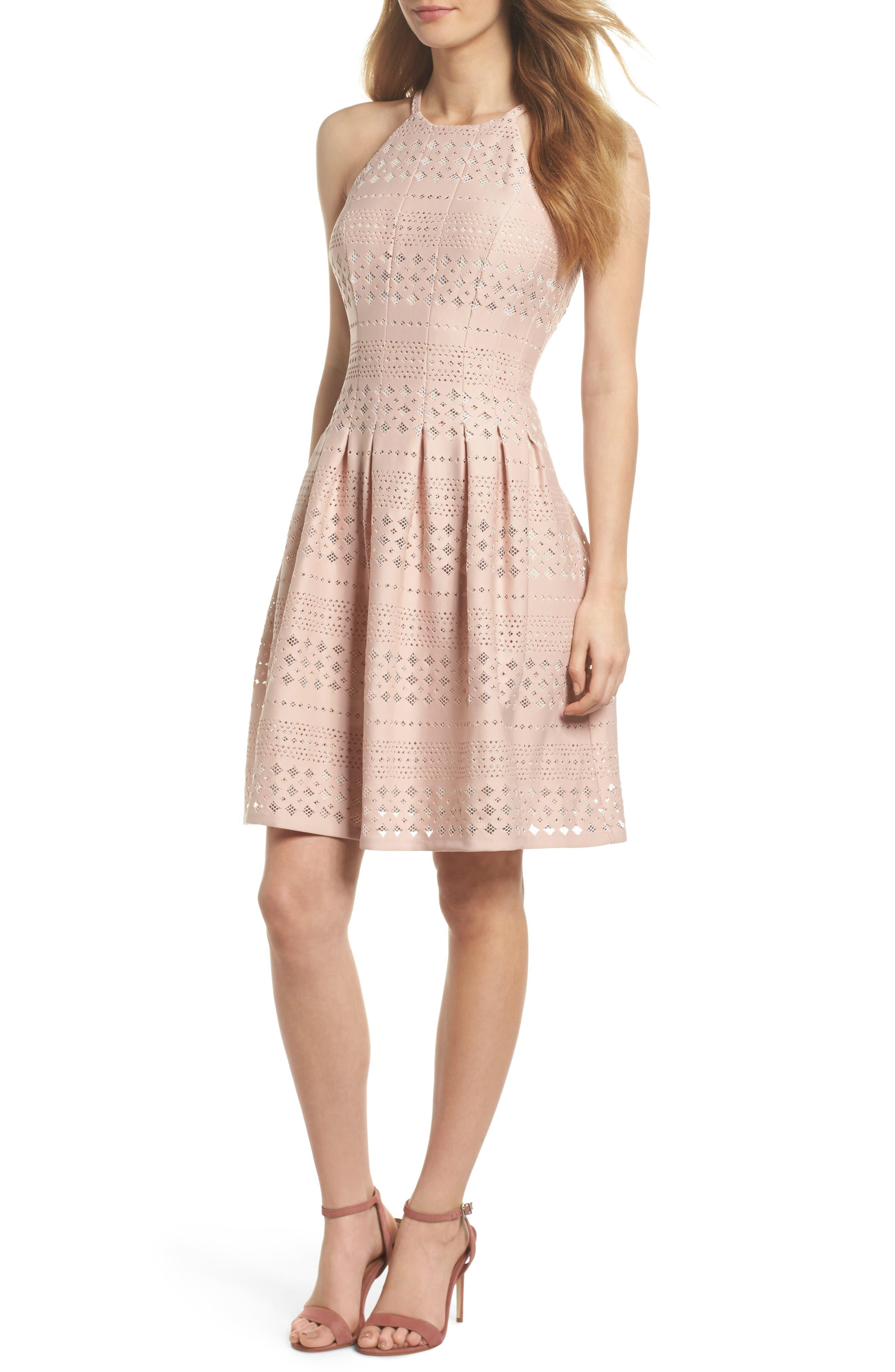 Laser Cut Fit & Flare Halter Dress,                             Main thumbnail 2, color,