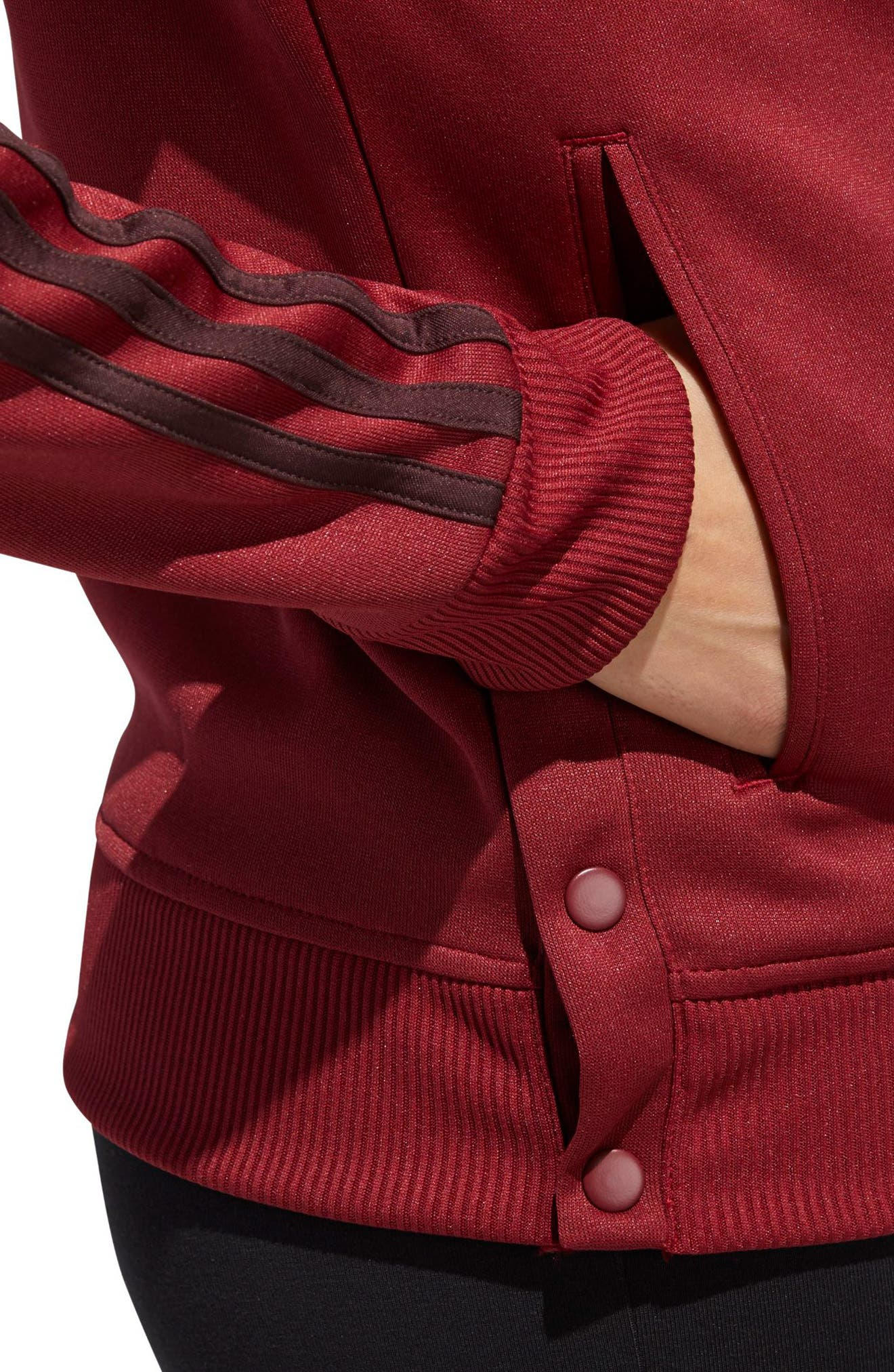 Snap Hem Track Jacket,                             Alternate thumbnail 4, color,                             NOBLE MAROON/ NIGHT RED