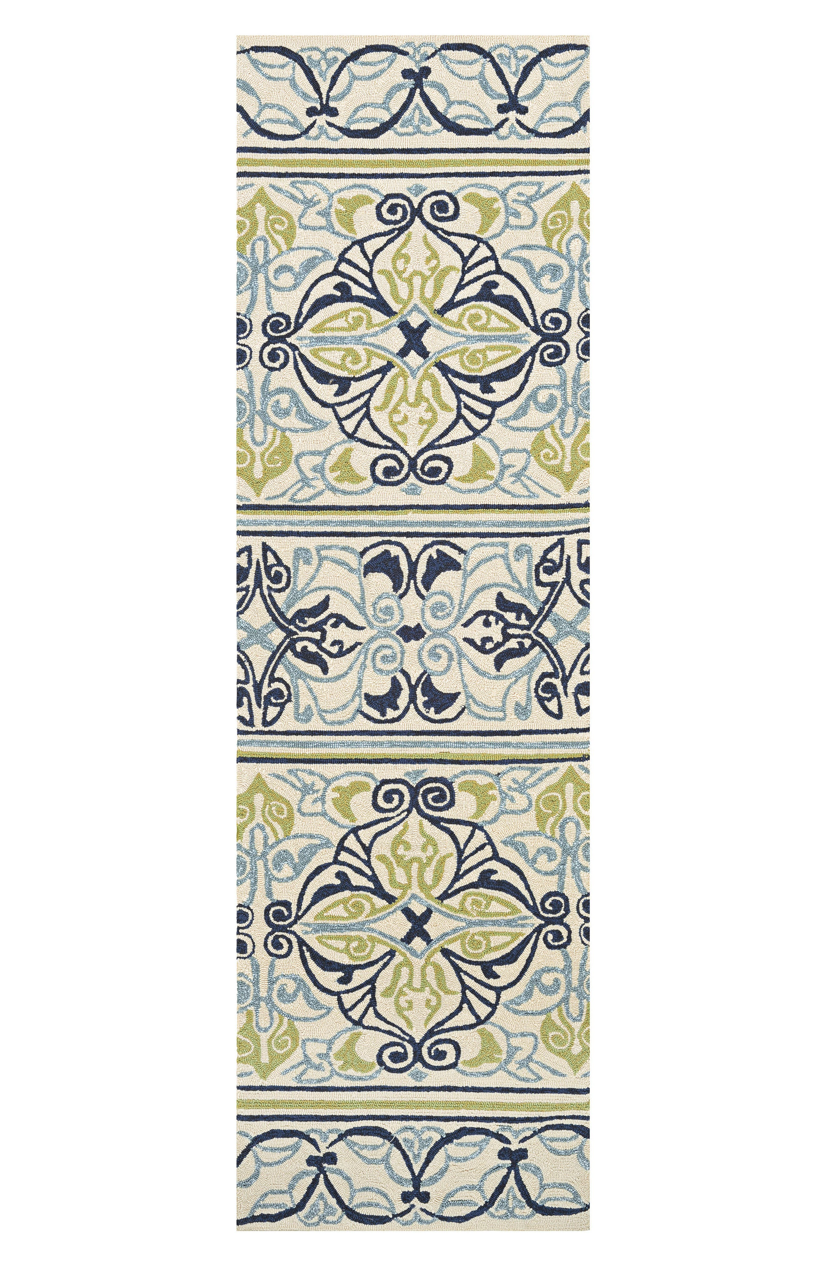 Pegasus Indoor/Outdoor Rug,                             Alternate thumbnail 3, color,                             IVORY/ NAVY/ LIME