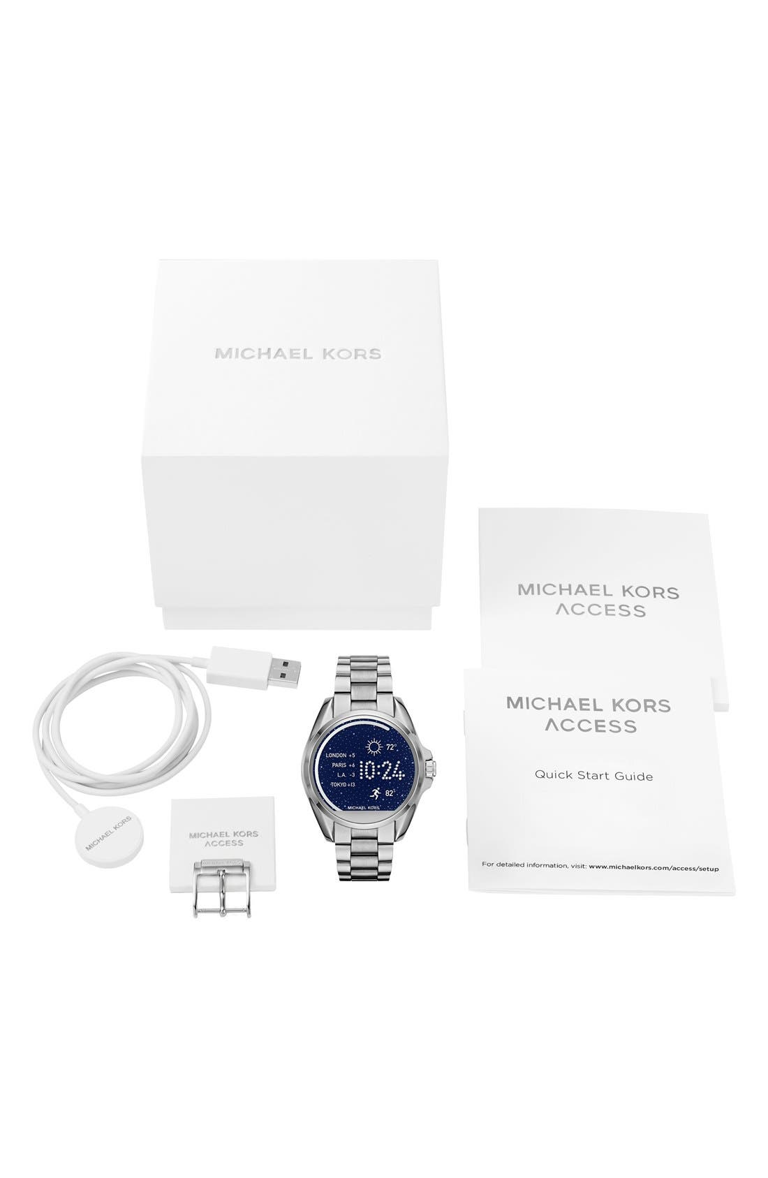 MICHAEL Michael Kors Bradshaw Access Bracelet Smart Watch, 45mm,                             Alternate thumbnail 2, color,                             SILVER/ SILVER