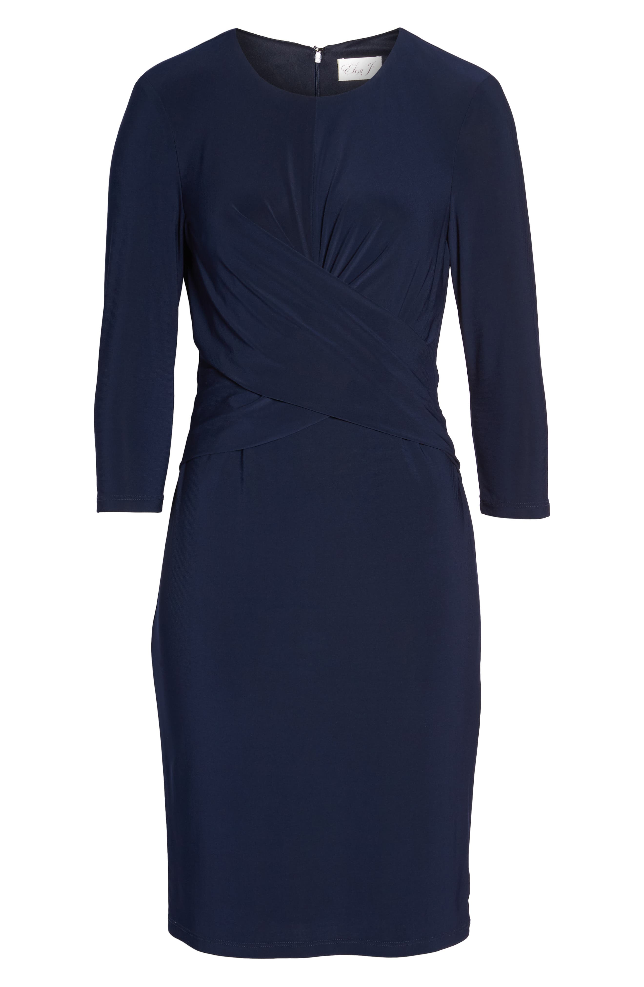 Ruched Jersey Sheath Dress,                             Alternate thumbnail 8, color,                             NAVY