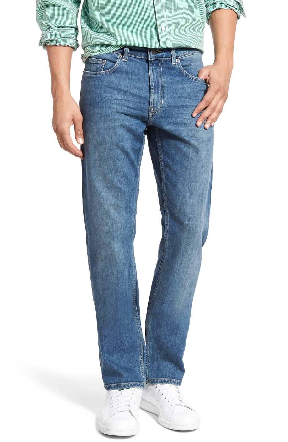 'Nicholls' Regular Fit Straight Leg Jeans, Main, color, DENIM