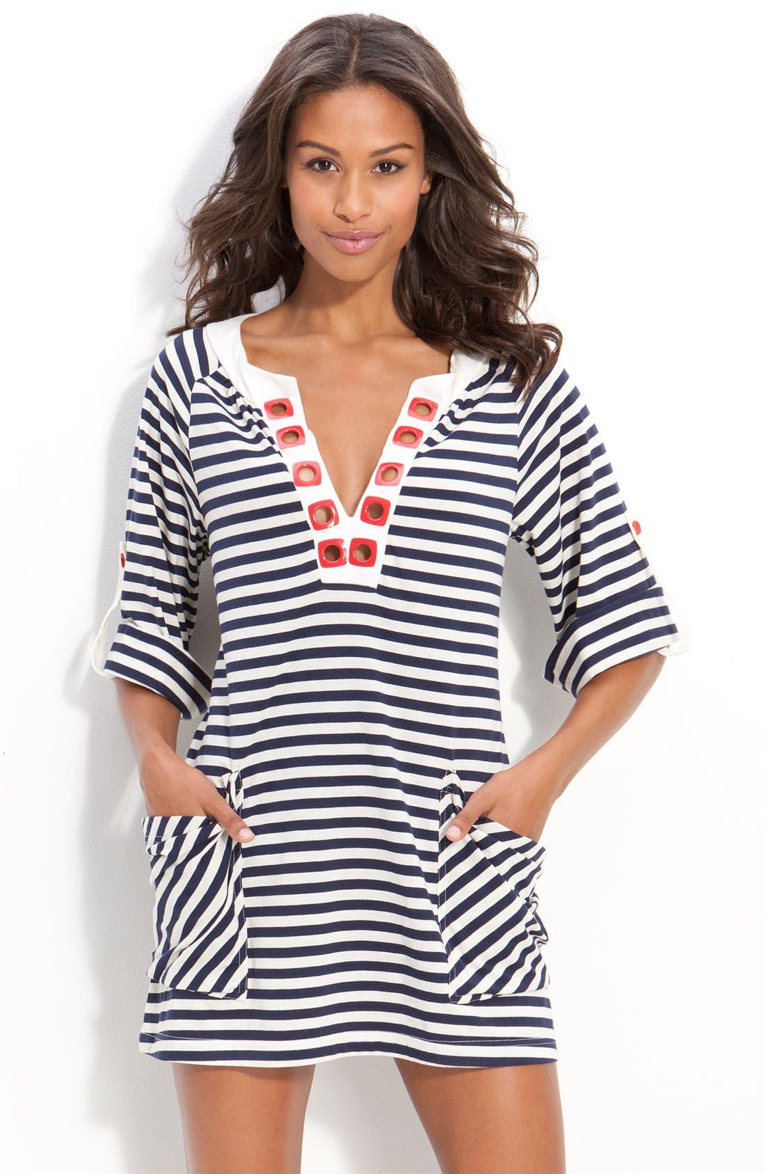 'Riviera Stripe' Tunic Cover-Up,                         Main,                         color, 410