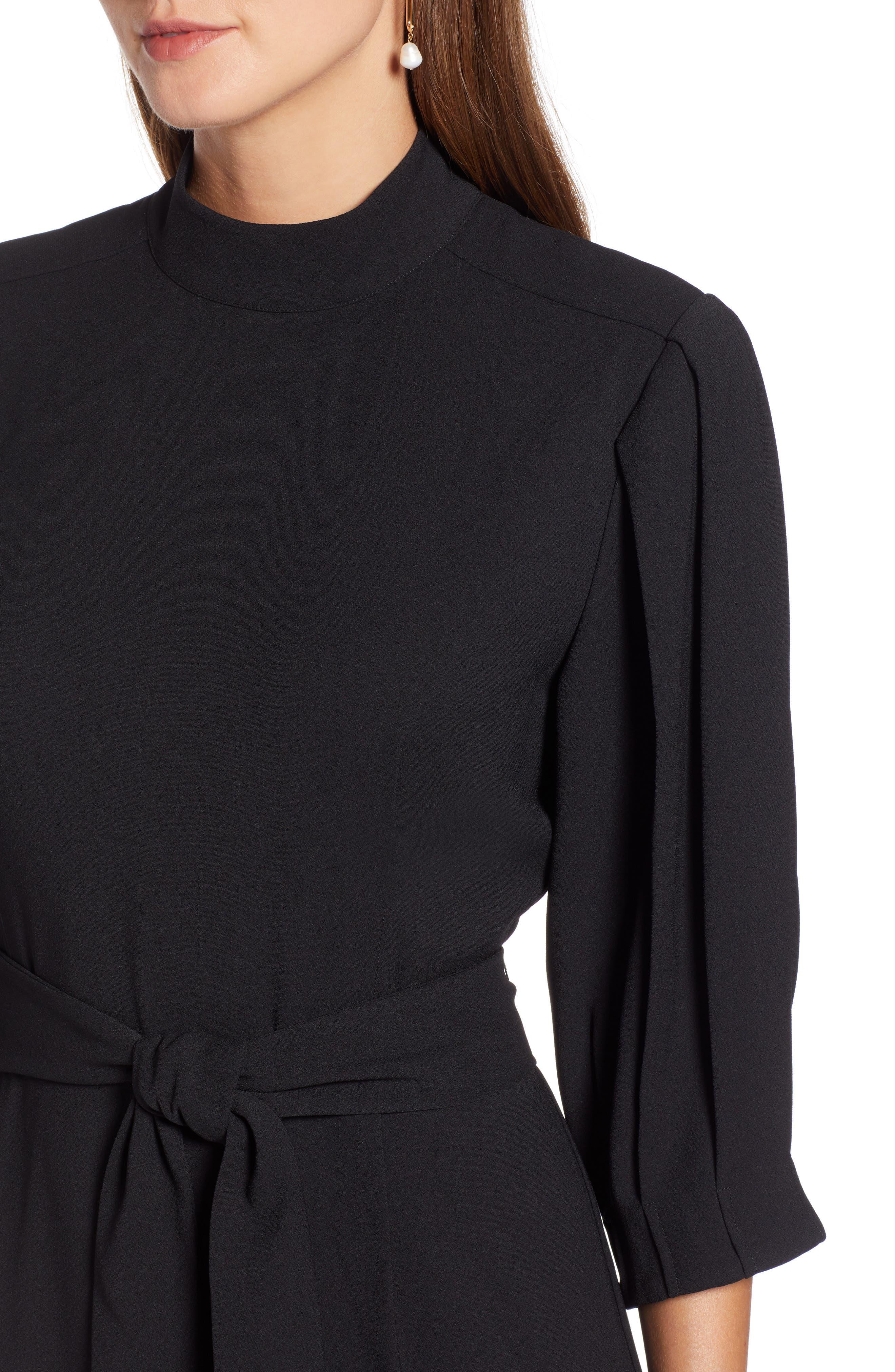 HALOGEN<SUP>®</SUP>,                             Tie Waist Dress,                             Alternate thumbnail 5, color,                             001