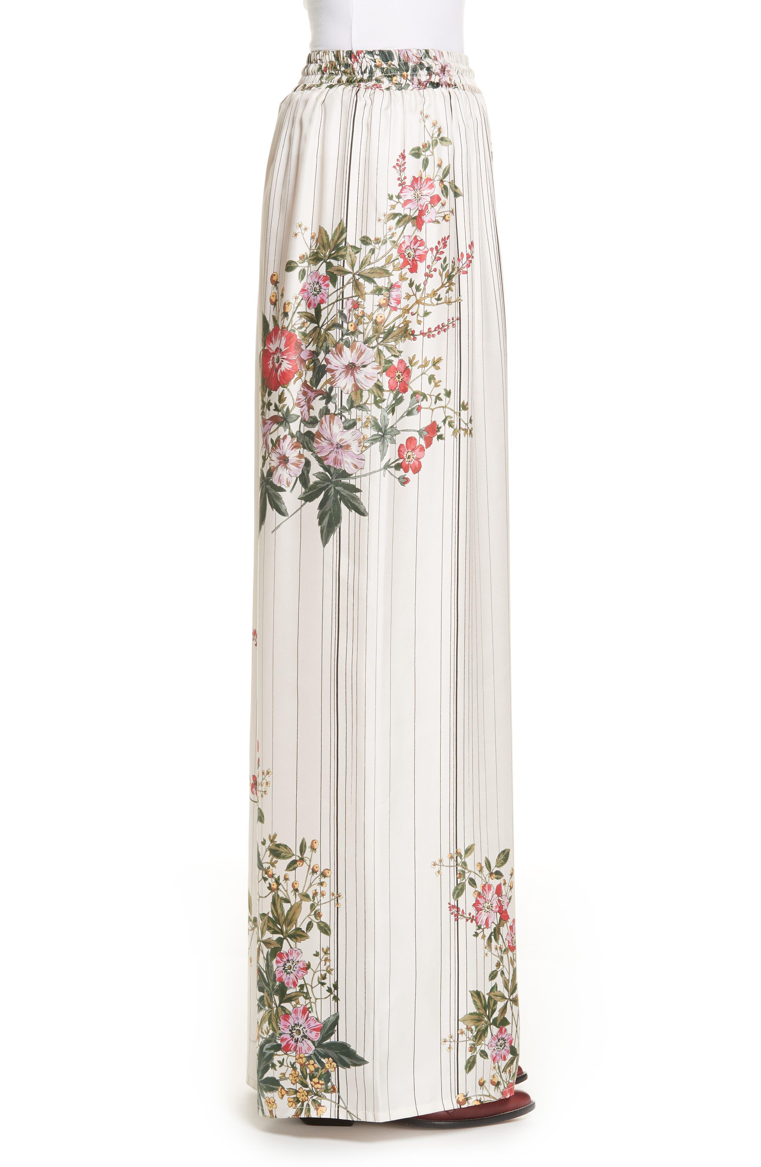 Conner Floral & Stripe Wide Leg Silk Pants,                             Alternate thumbnail 3, color,                             MULTI IVOIRE