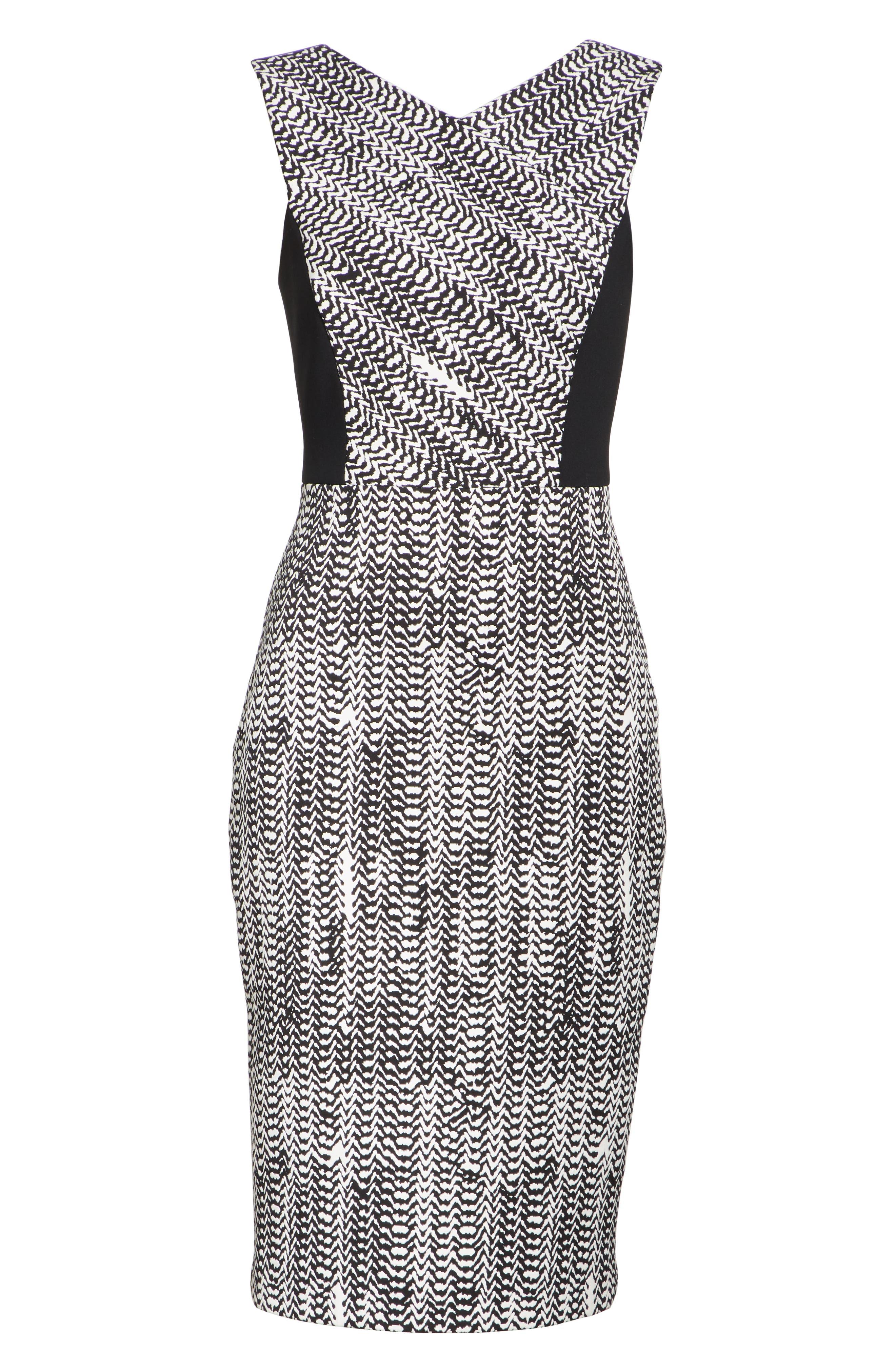 Herringbone Jacquard Sheath Dress,                             Alternate thumbnail 6, color,                             BLACK/ CHALK