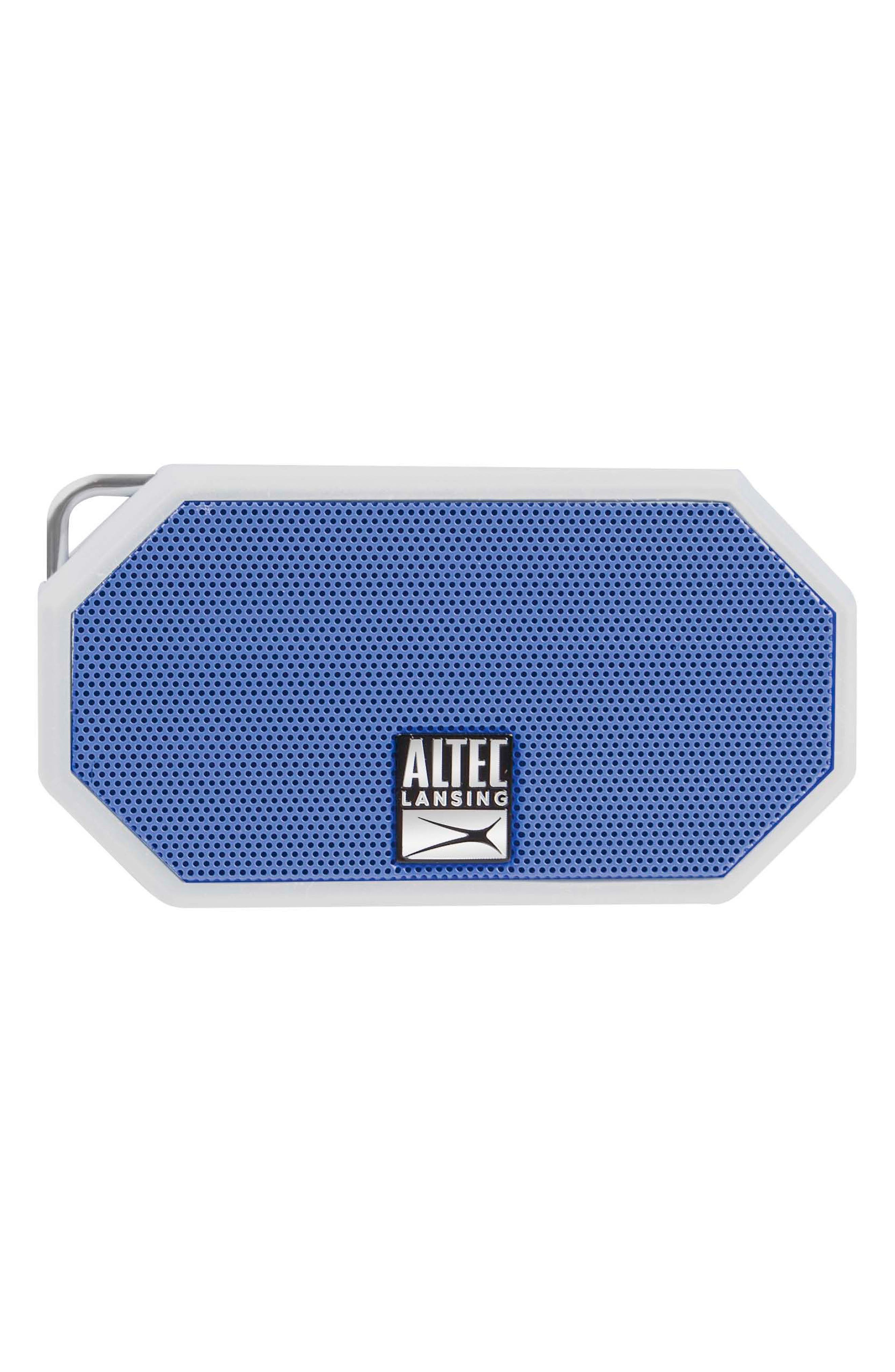 ALTEC LANSING,                             Mini H2O 3 Waterproof Compact Speaker,                             Main thumbnail 1, color,                             WHTE/ DEEP MID BLUE
