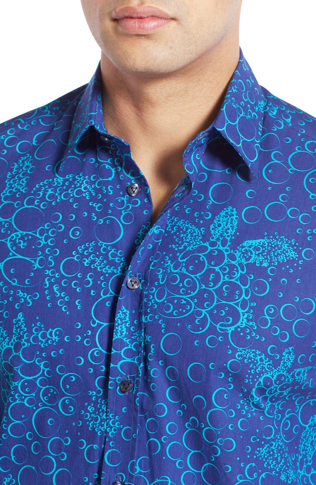Regular Fit Turtle Print Sport Shirt,                             Alternate thumbnail 4, color,