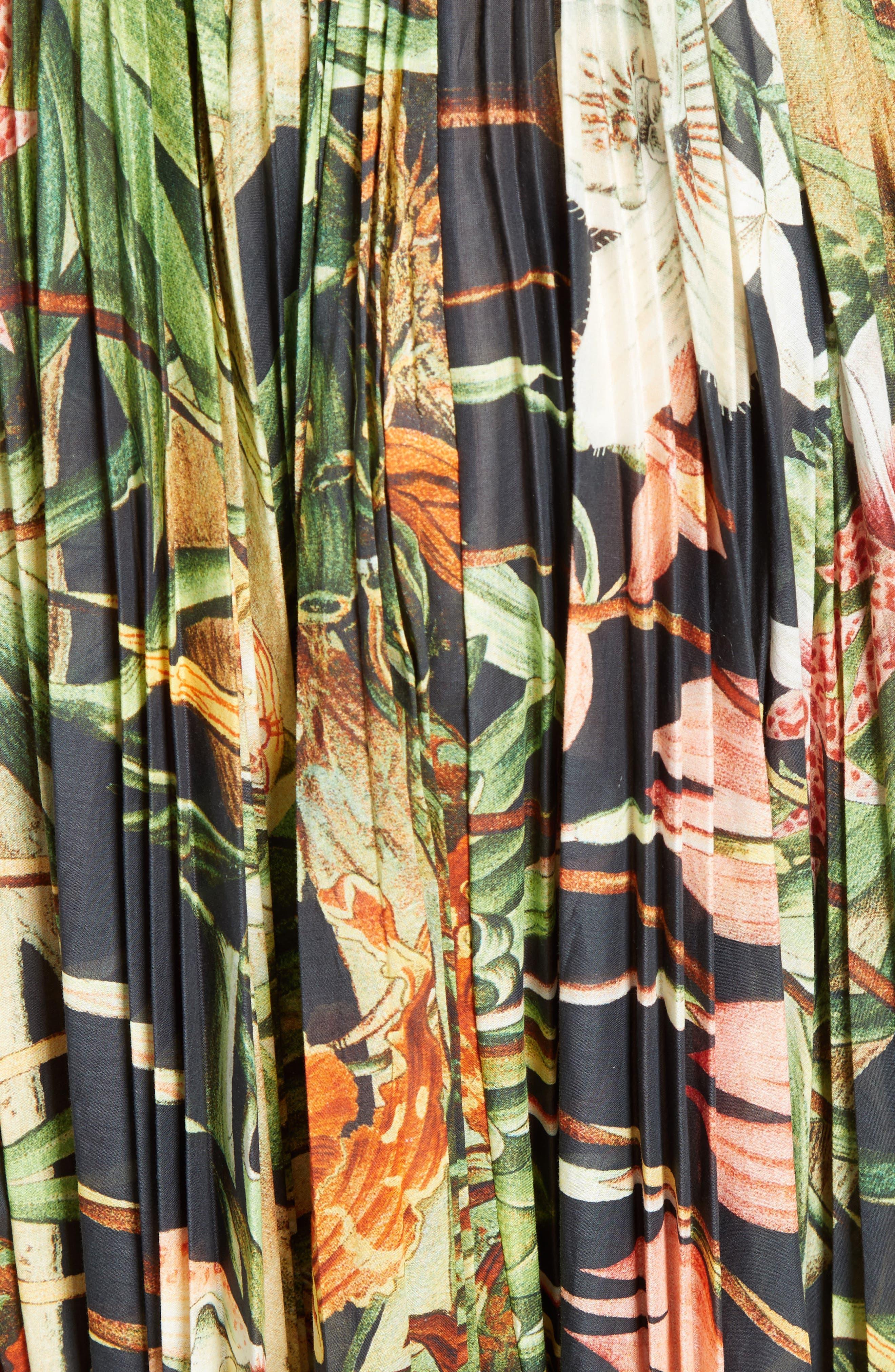 Print Cotton Voile Pleated Skirt,                             Alternate thumbnail 5, color,                             001