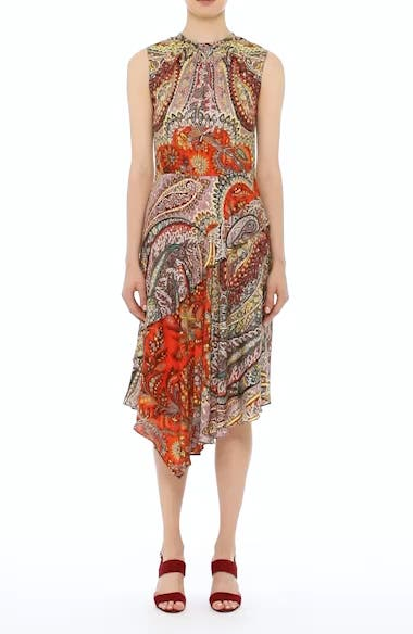 Paisley Print Asymmetrical Dress, video thumbnail