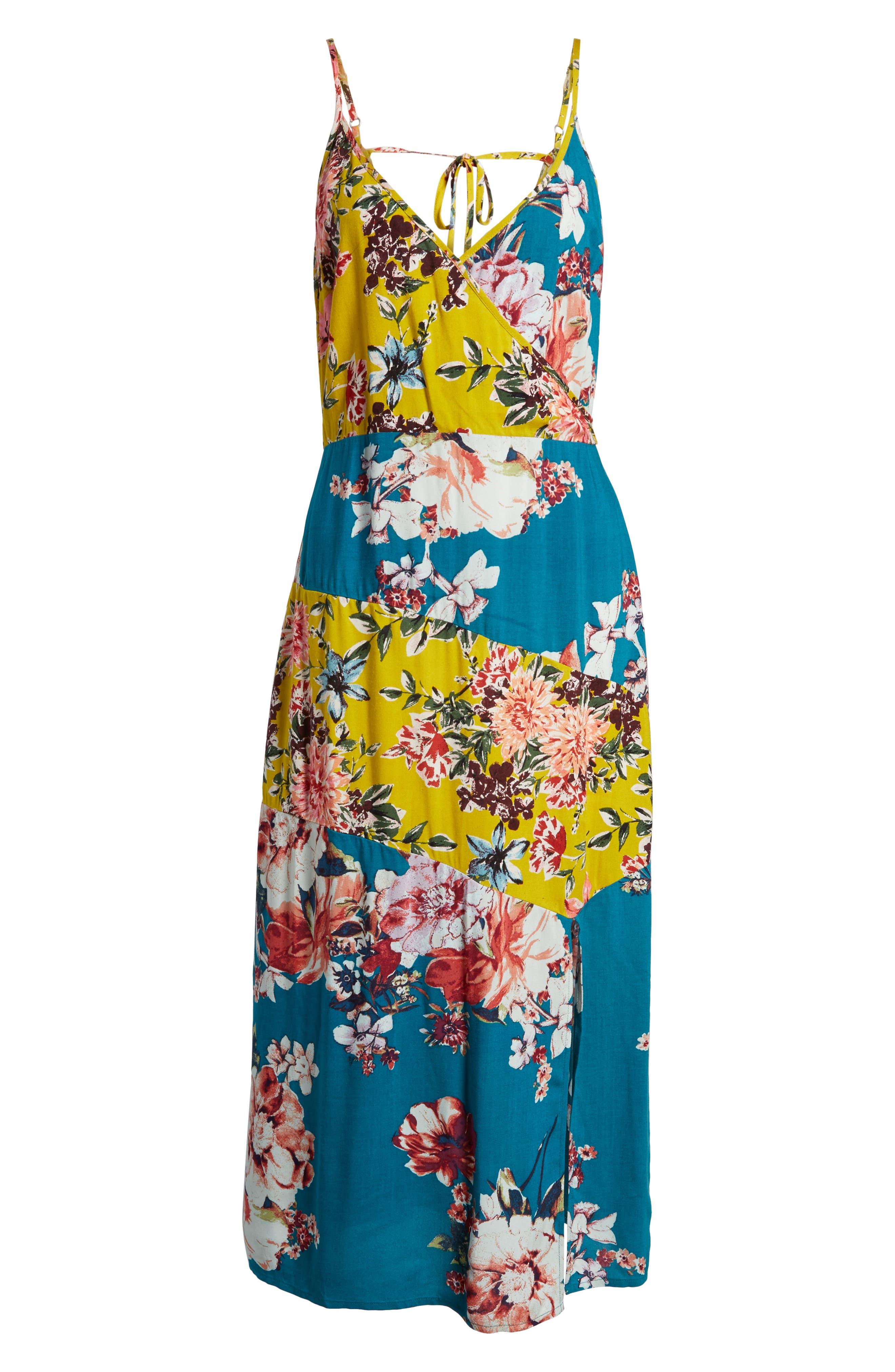 Mix Floral Midi Dress,                             Alternate thumbnail 6, color,                             403