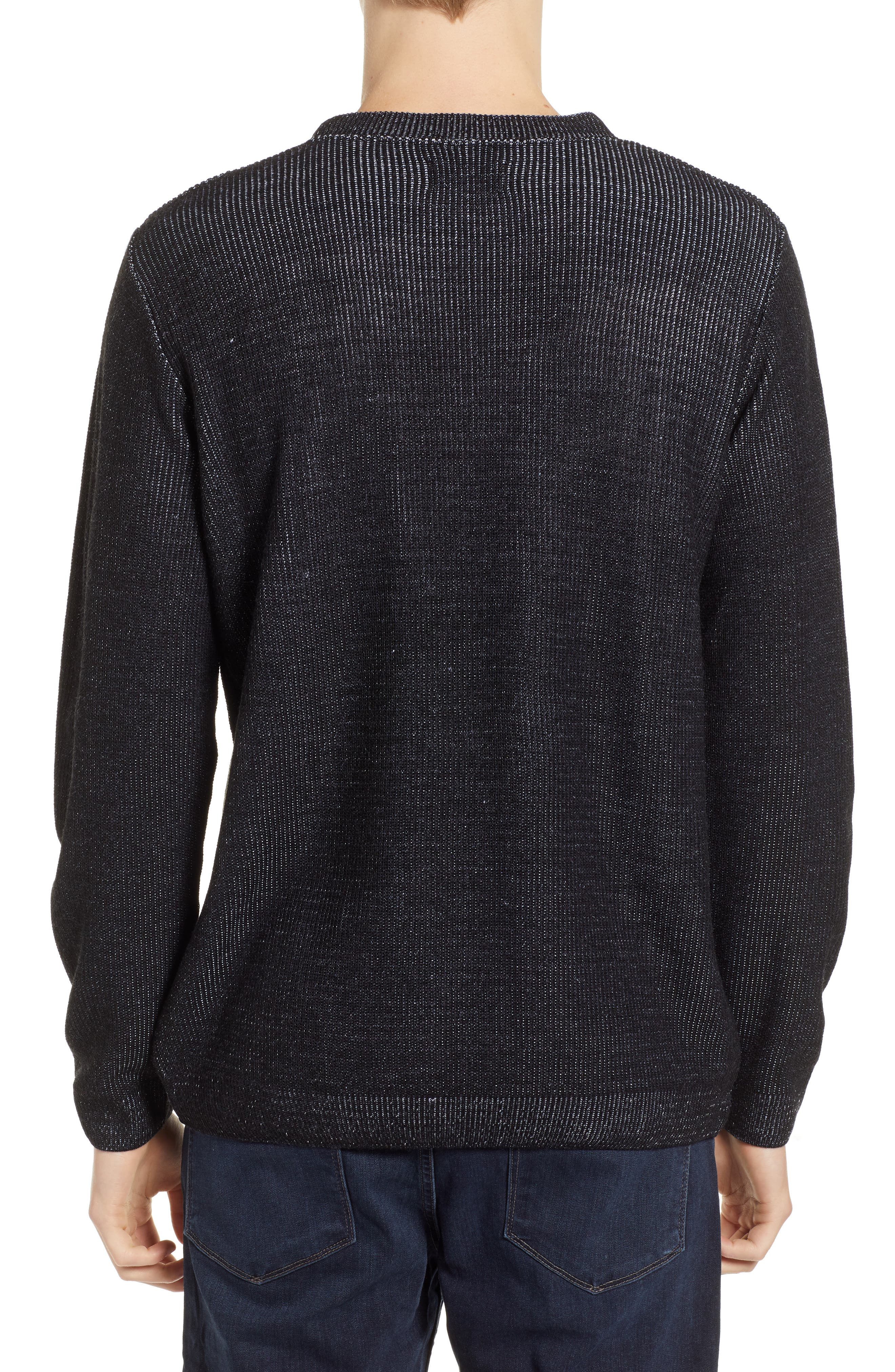 Plaited Crewneck Sweater,                             Alternate thumbnail 2, color,                             BLACK