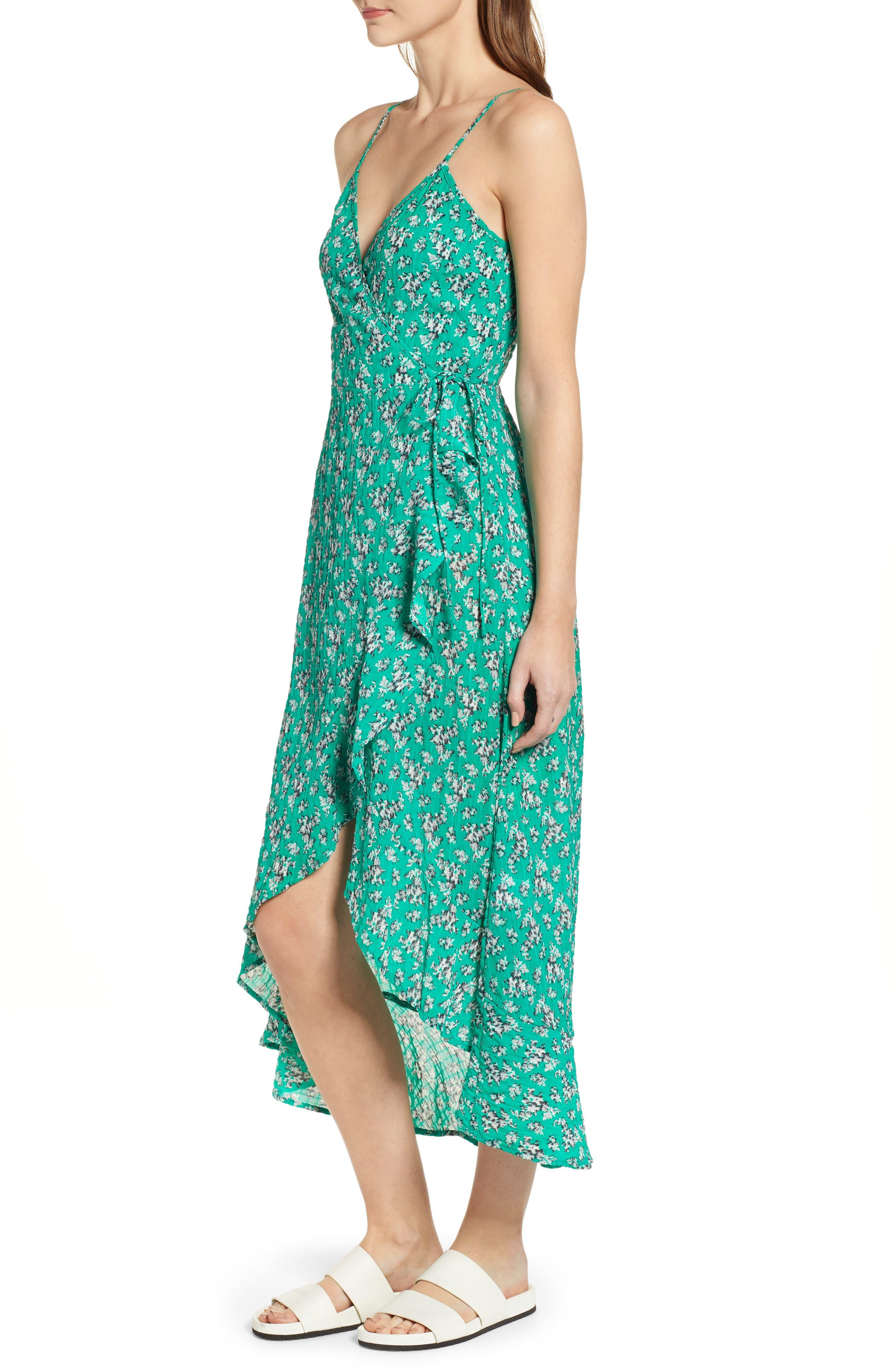 Adventurer Floral Print High/Low Dress,                             Alternate thumbnail 3, color,                             GREEN FLORAL