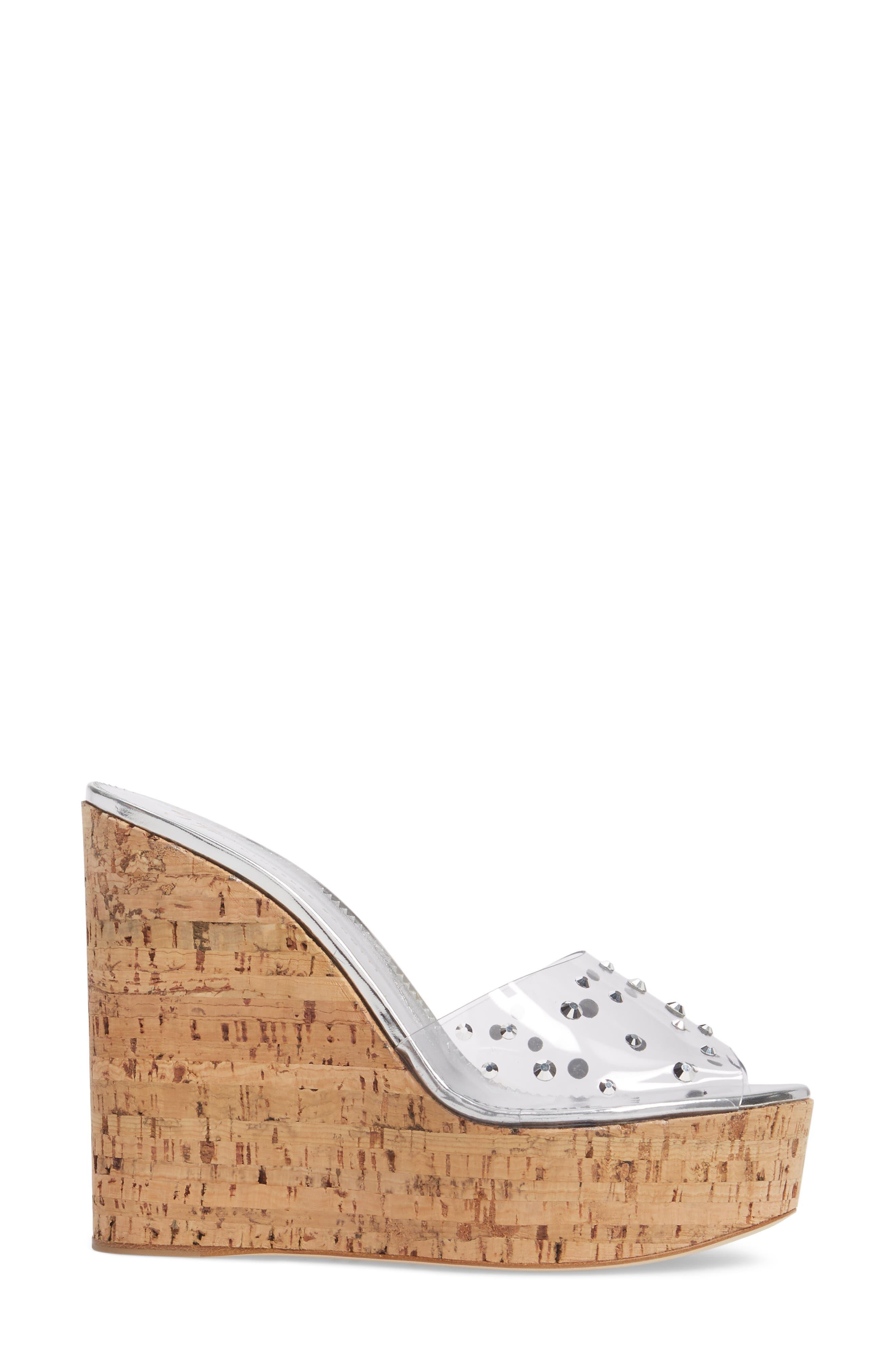 Clear Studded Platform Wedge Sandal,                             Alternate thumbnail 3, color,                             043
